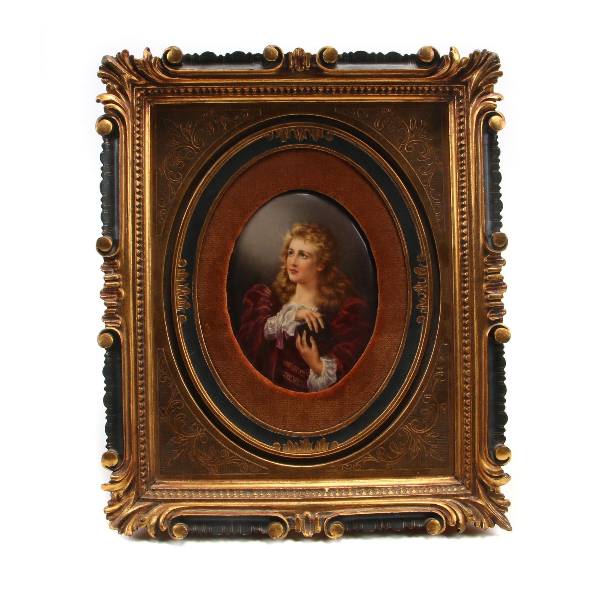 Painted Porcelain Plaque of Woman Holding Book in Gilt Framed
