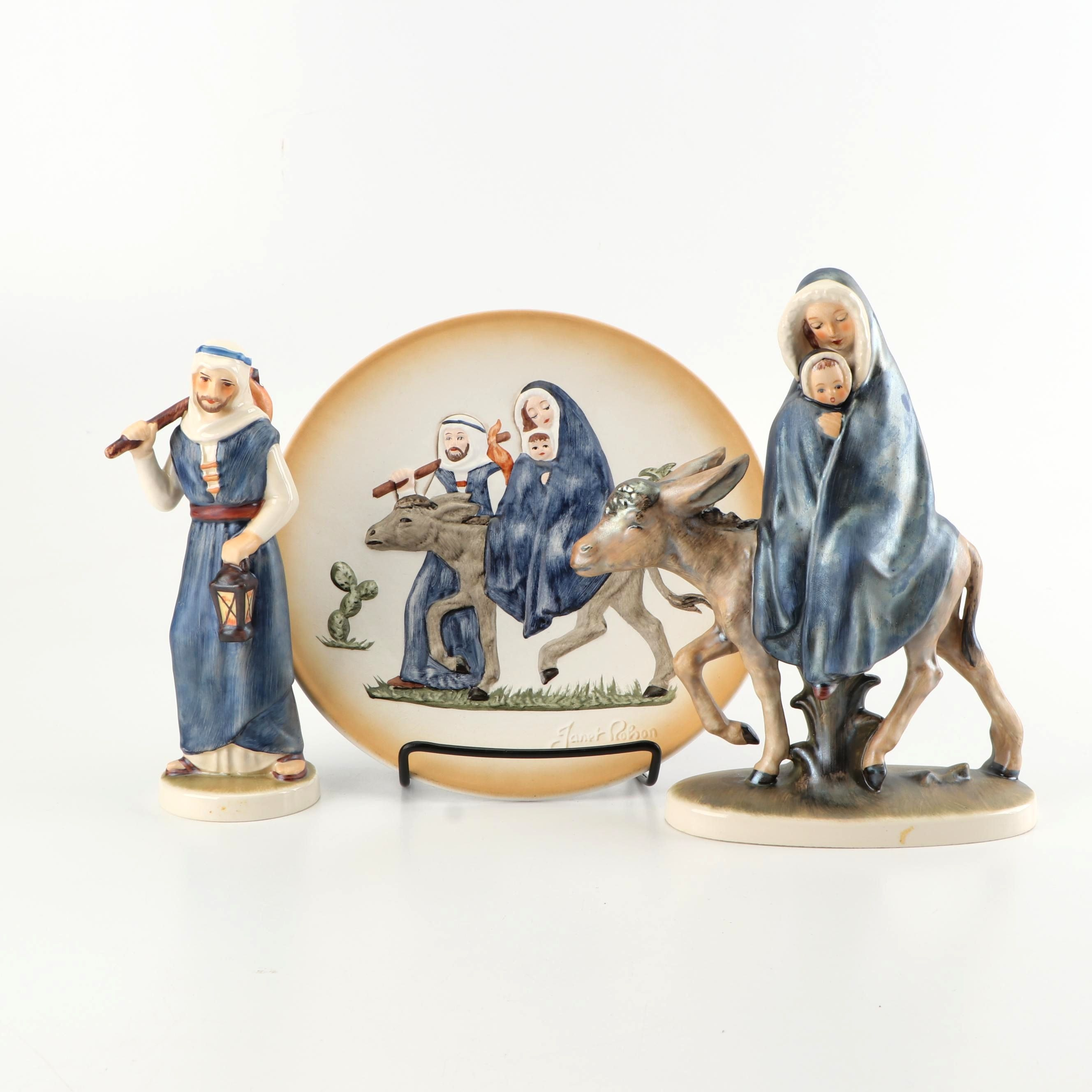 Commemorative Goebel Joseph Mary and Jesus Plate and Figurines
