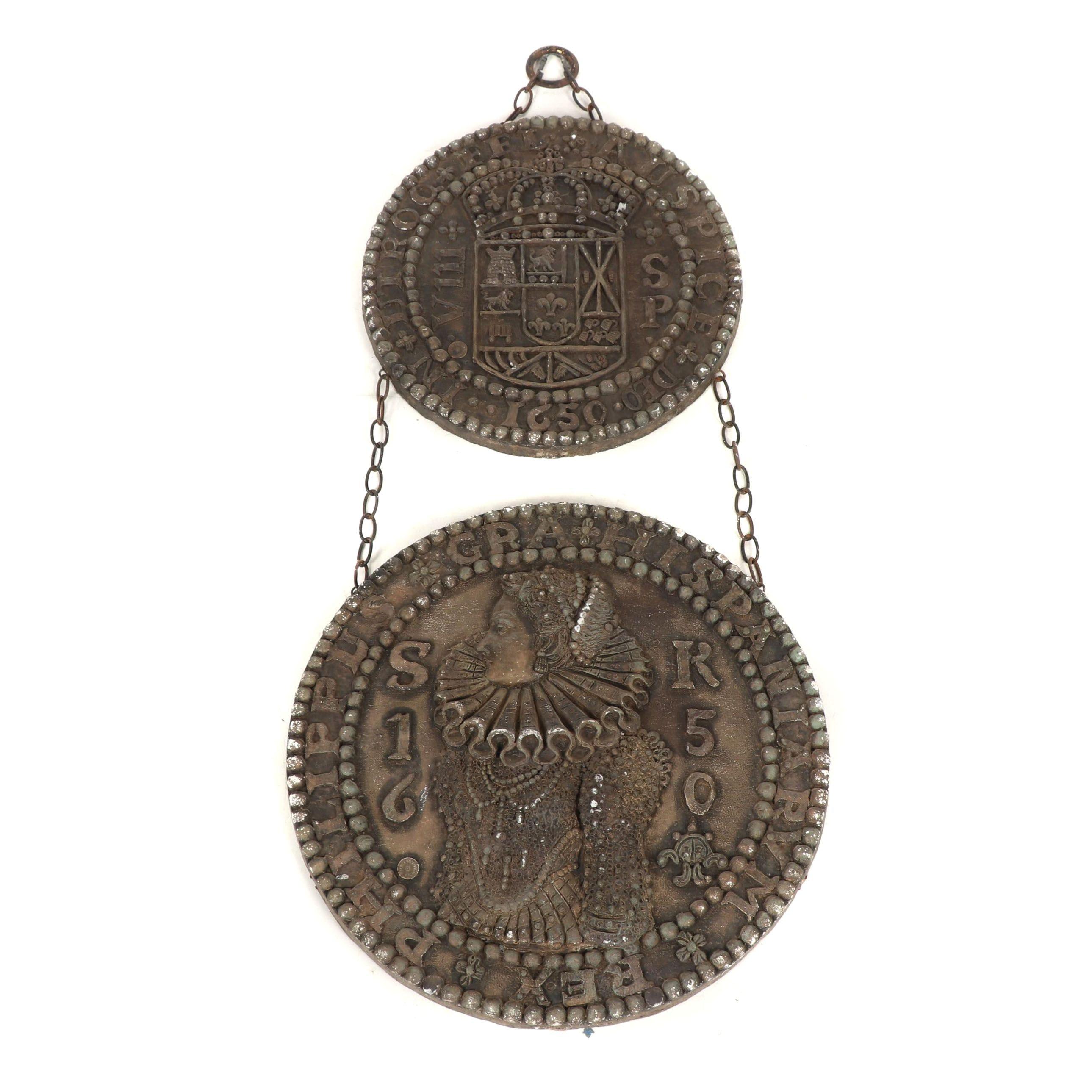 Harold Studios Inc. Plaster Fantasy Coin Wall Hangings, Mid-Century