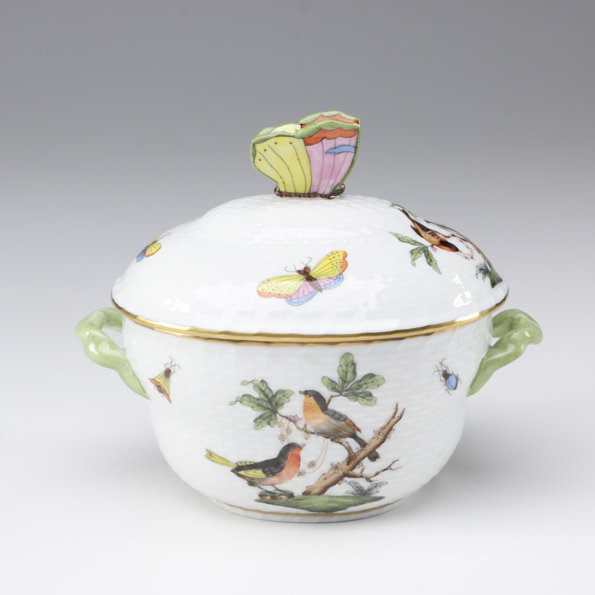 "Herend ""Rothschild Bird"" Porcelain Small Covered Candy Dish"