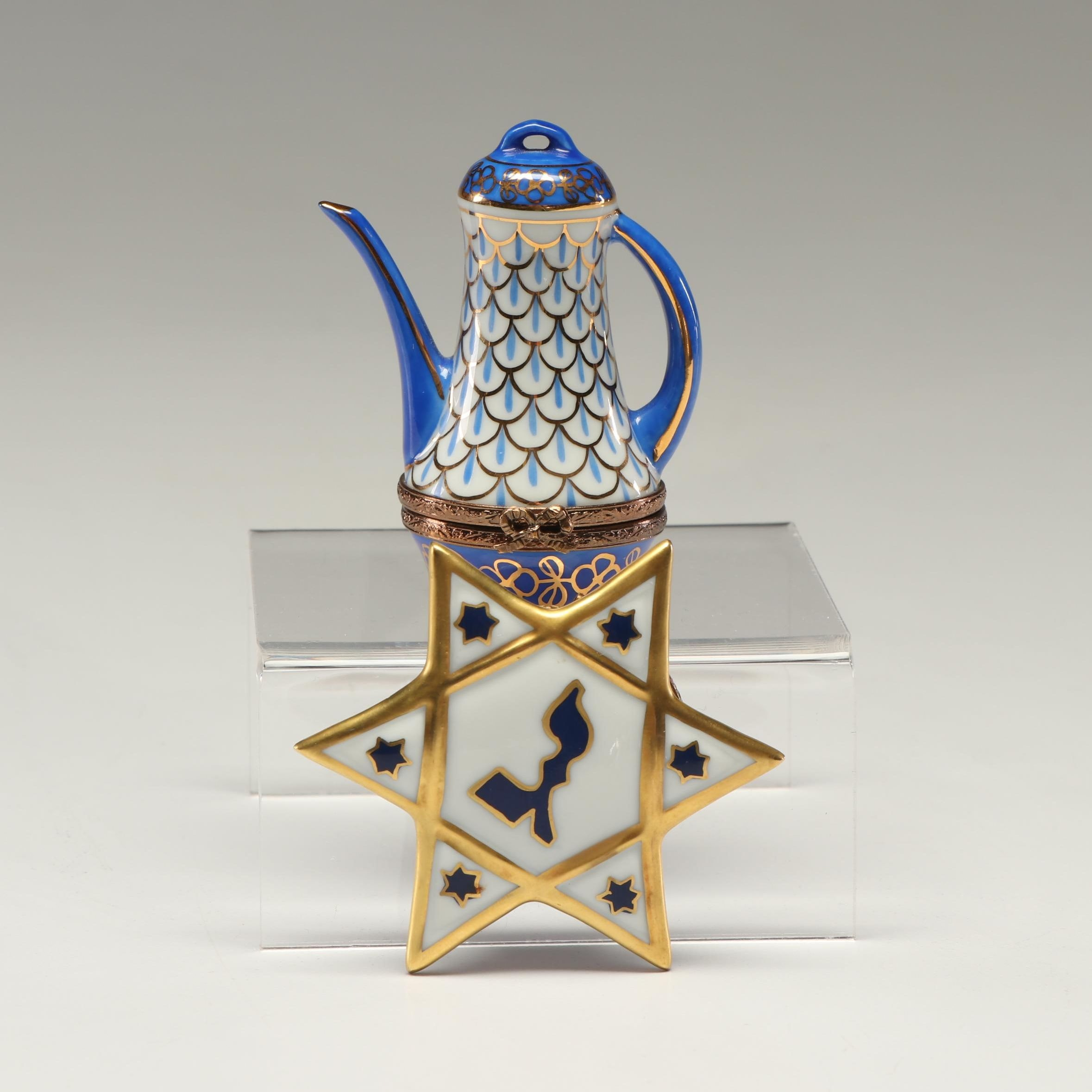 Limoges Painted Porcelain Pitcher and Star of David Trinket Boxes