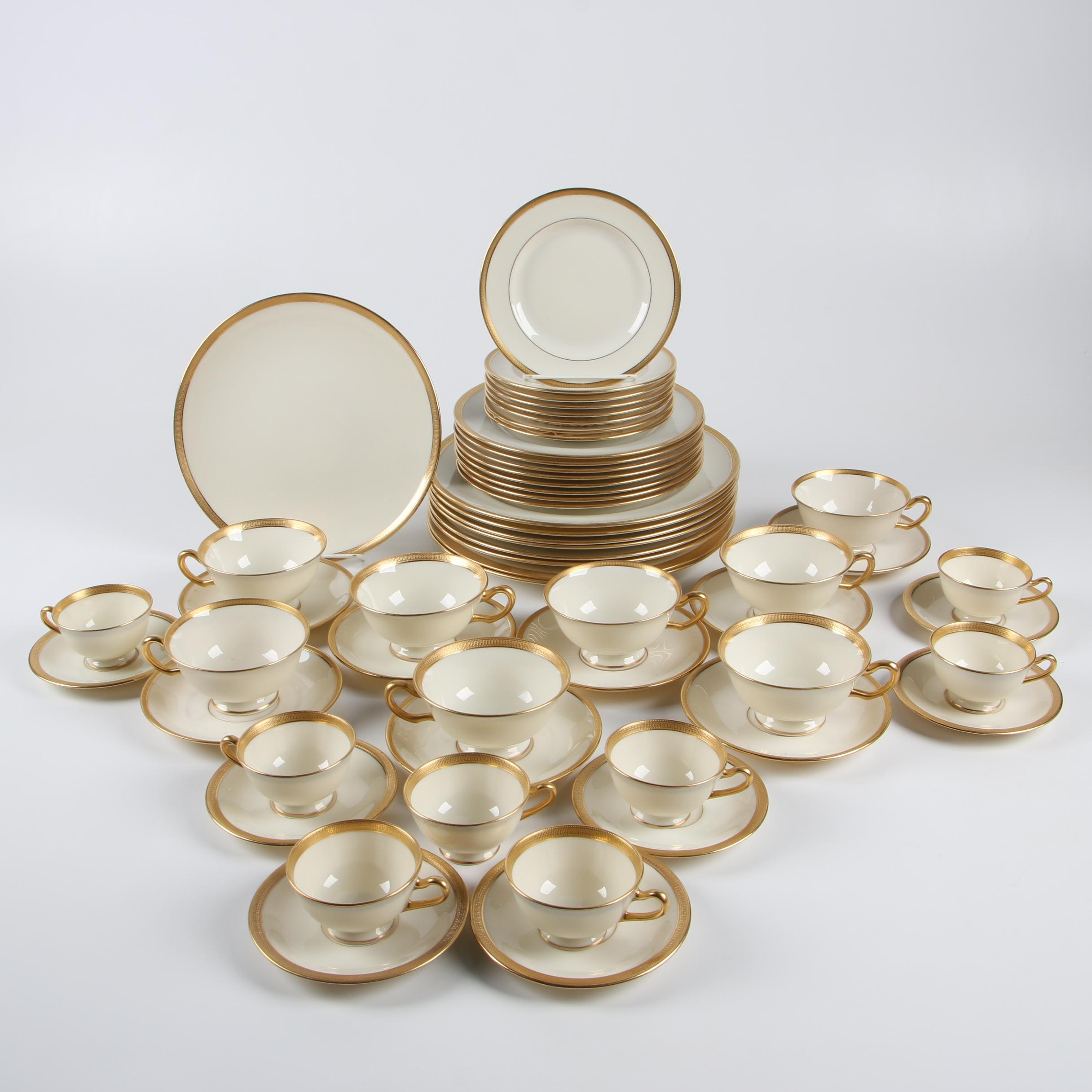 Gilt Rim Lenox Bone China Dinnerware, Early 20th Century