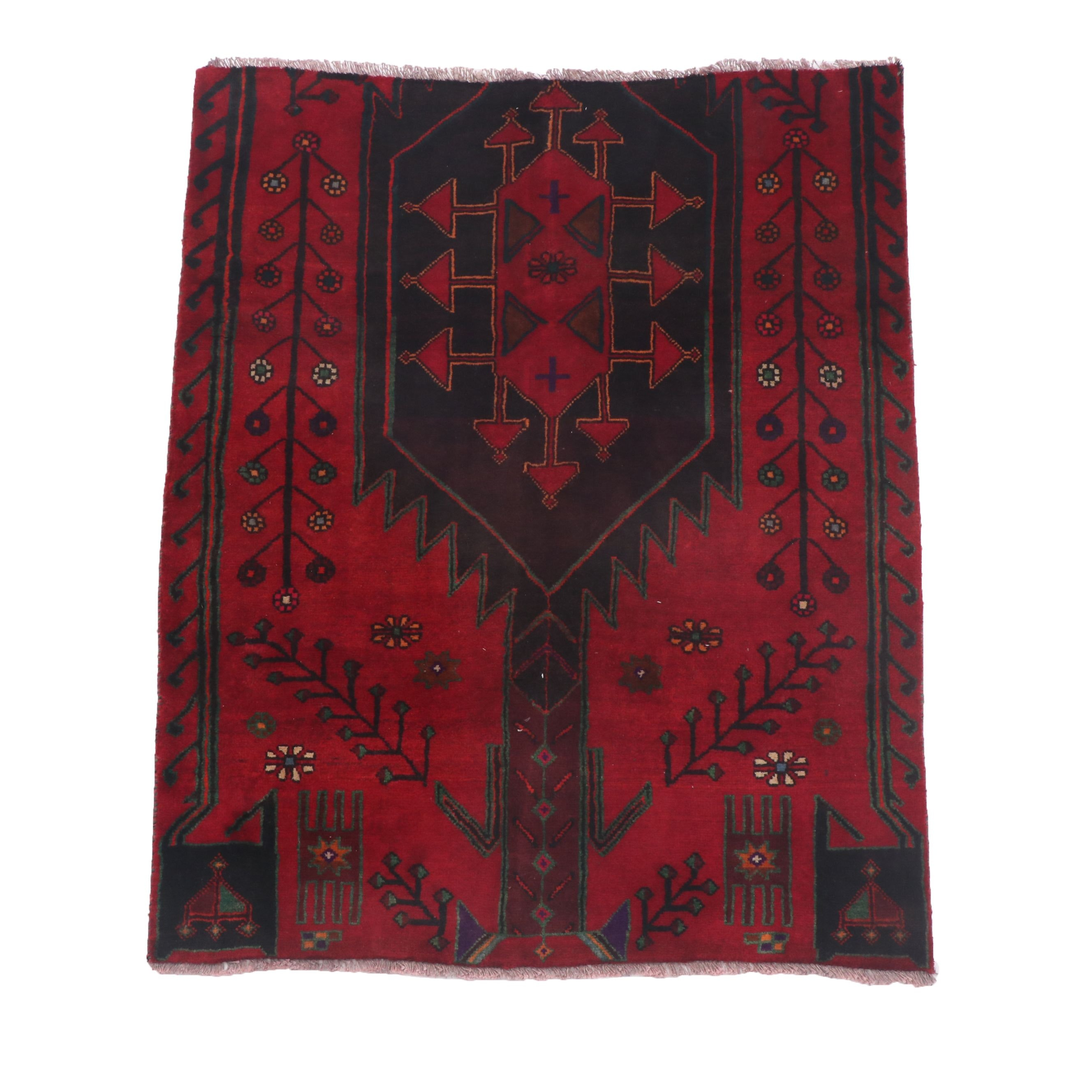 Hand-Knotted Kurdish Wool Rug Fragment