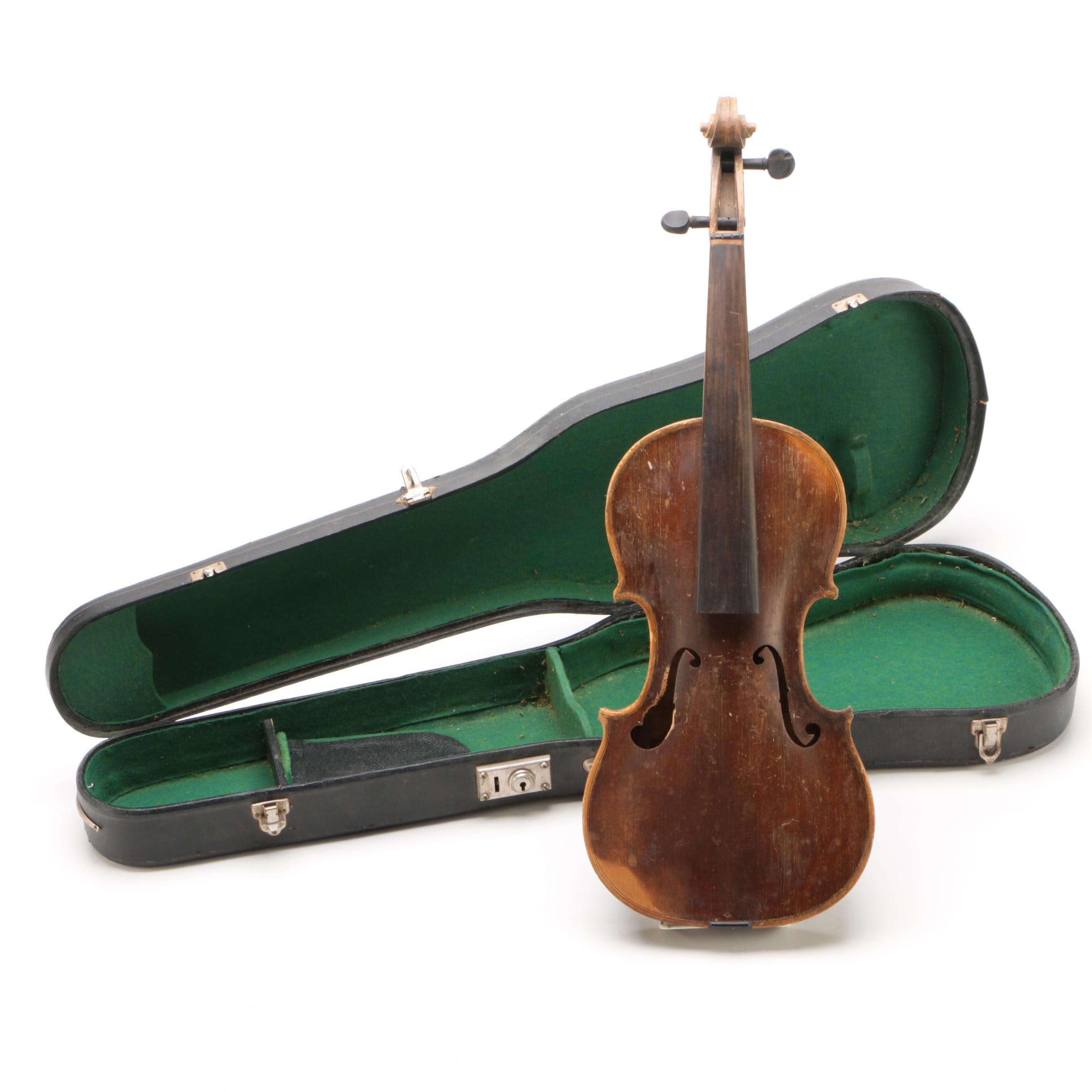 Spruce and Maple 4/4 Salvage Violin, Early 19th Century