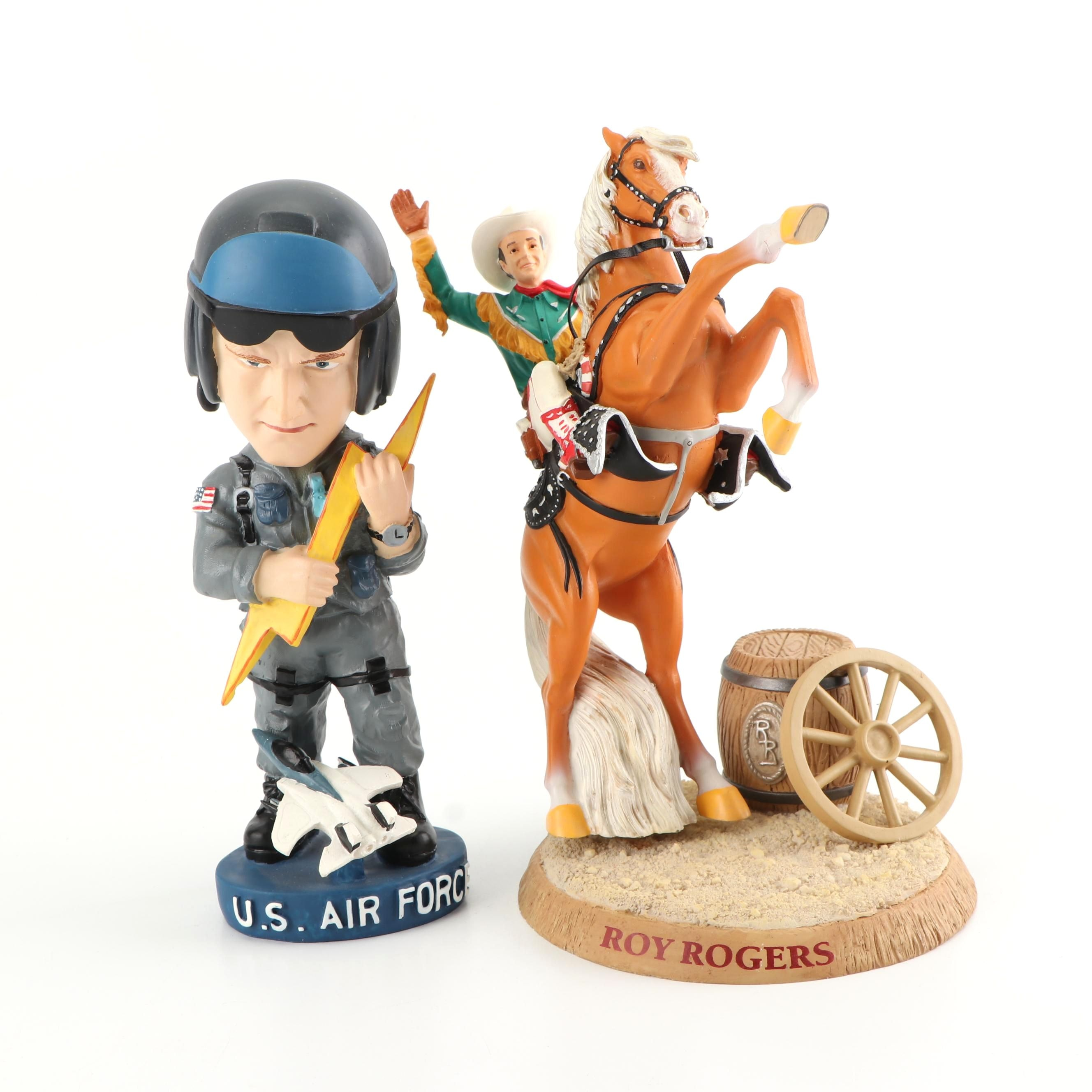 Roy Rogers and Trigger Figurine and a U.S. Air Force Bobblehead