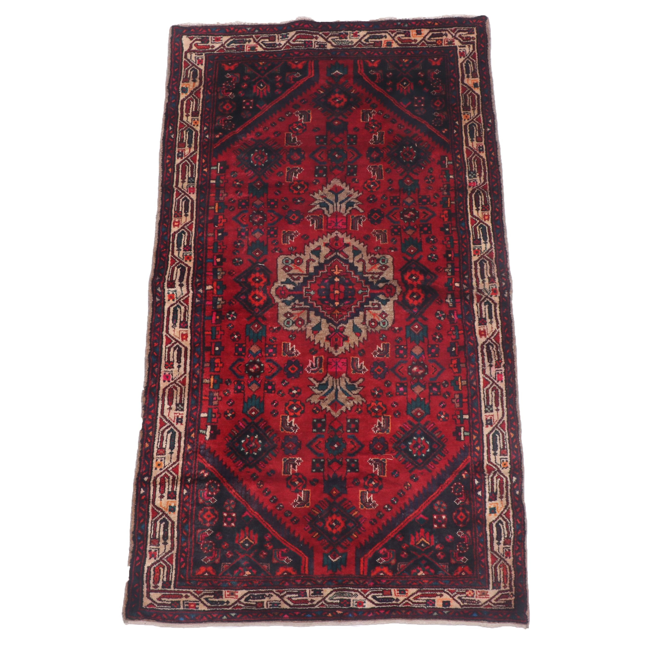 Hand-Knotted Persian Seraband Wool Area Rug