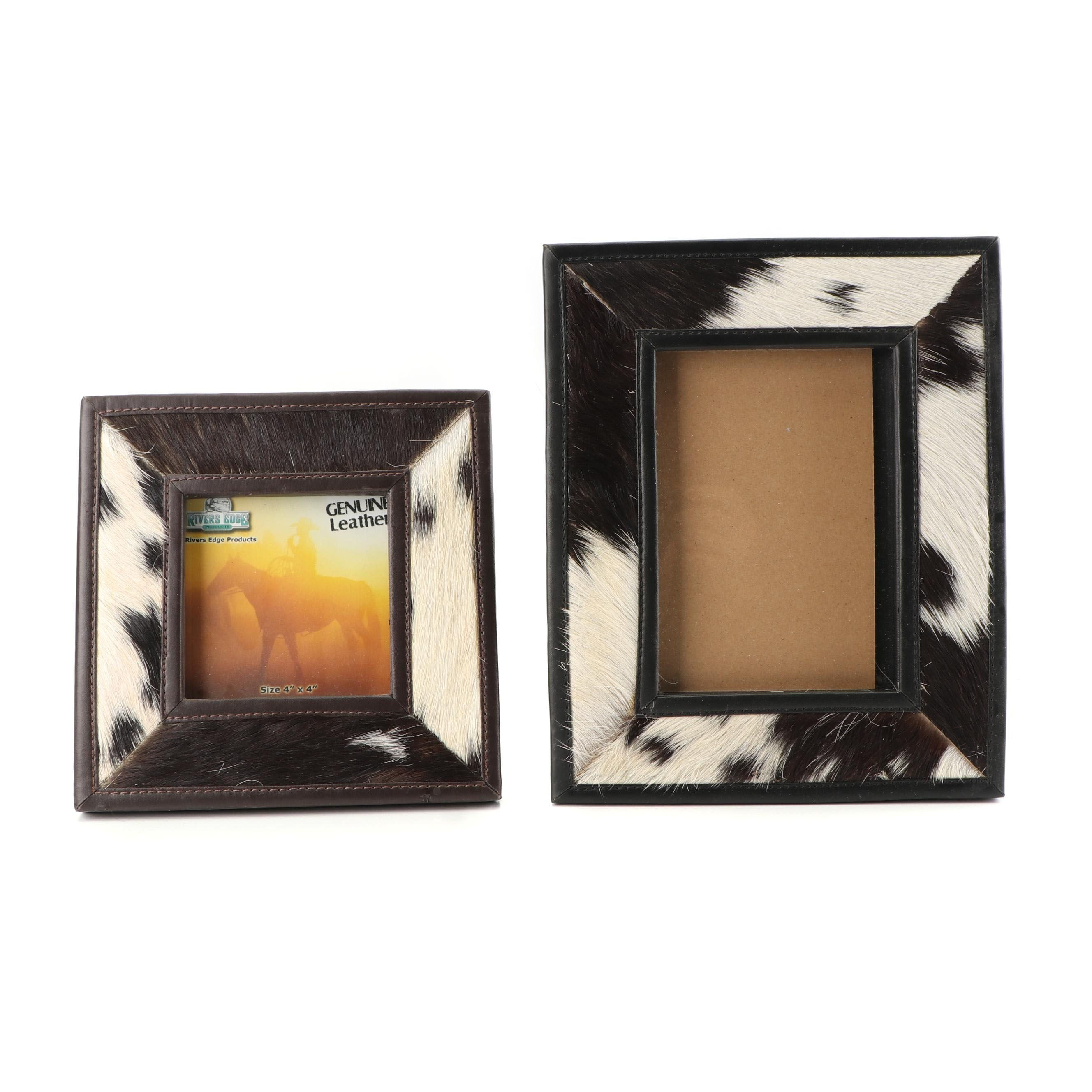 Leather and Cowhide Table Top Picture Frames