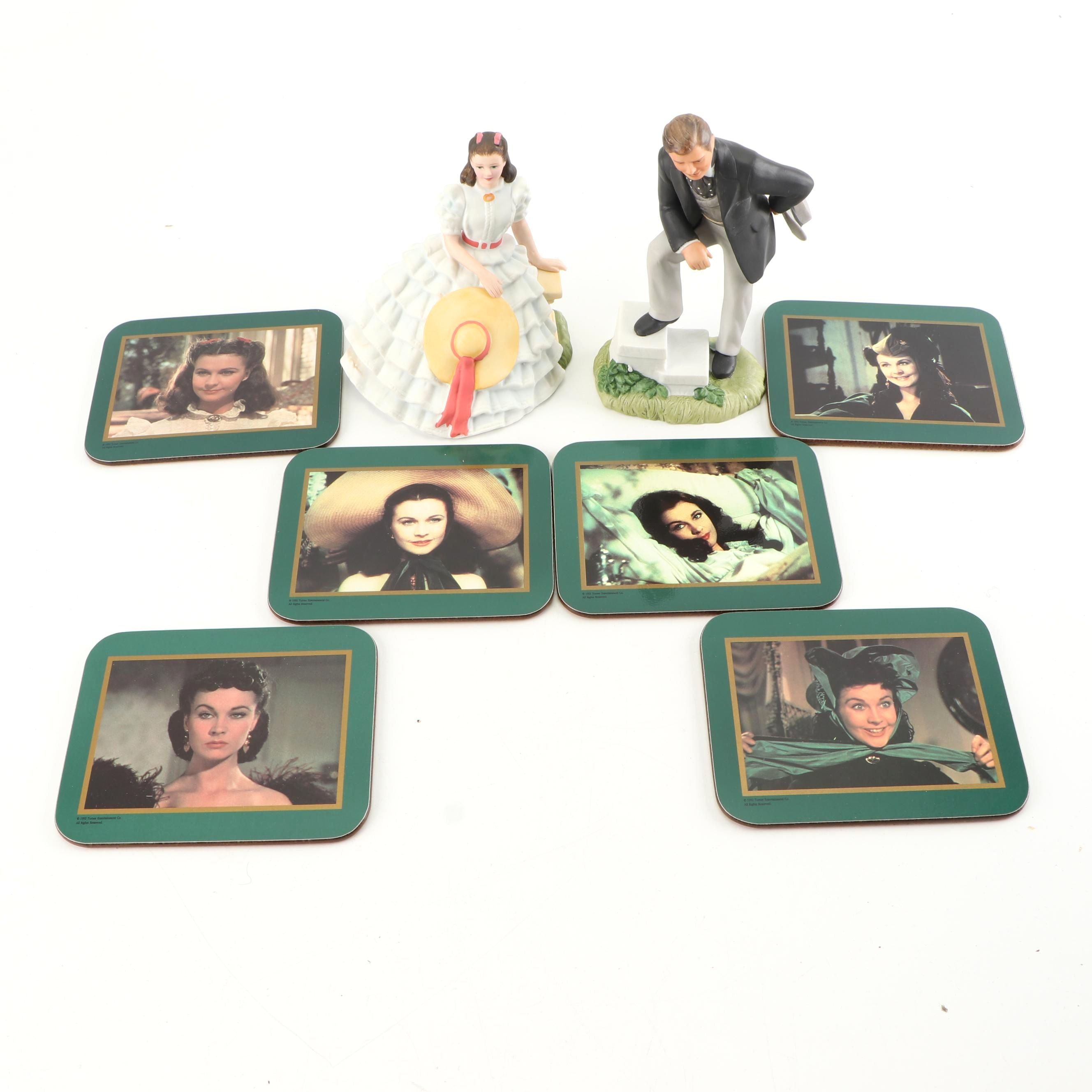 """Avon """"Gone With The Wind"""" Porcelain Figurines with Vivien Leigh Drink Coasters"""
