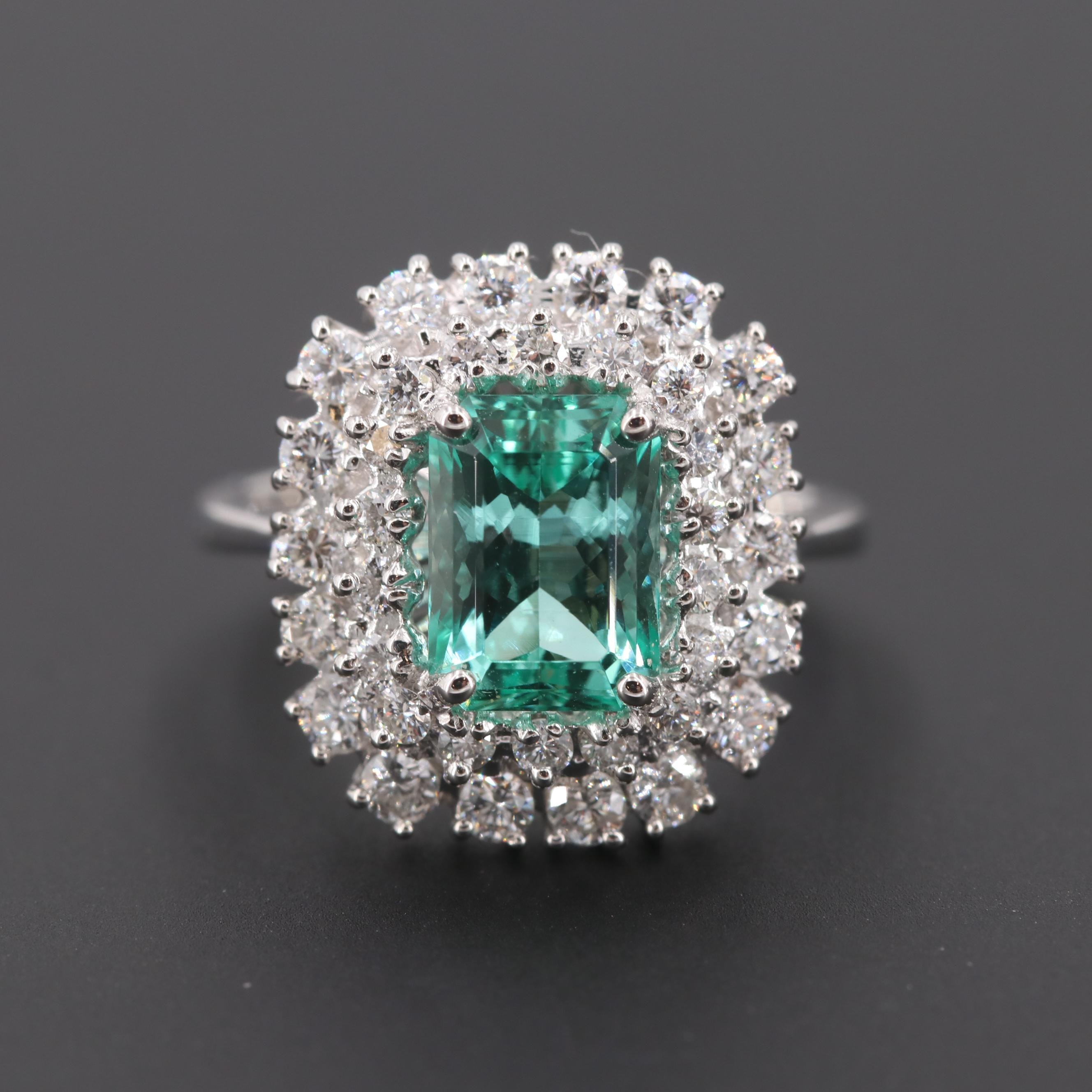 18K White Gold 1.43 CT Untreated Emerald and Diamond Ring with GIA Report