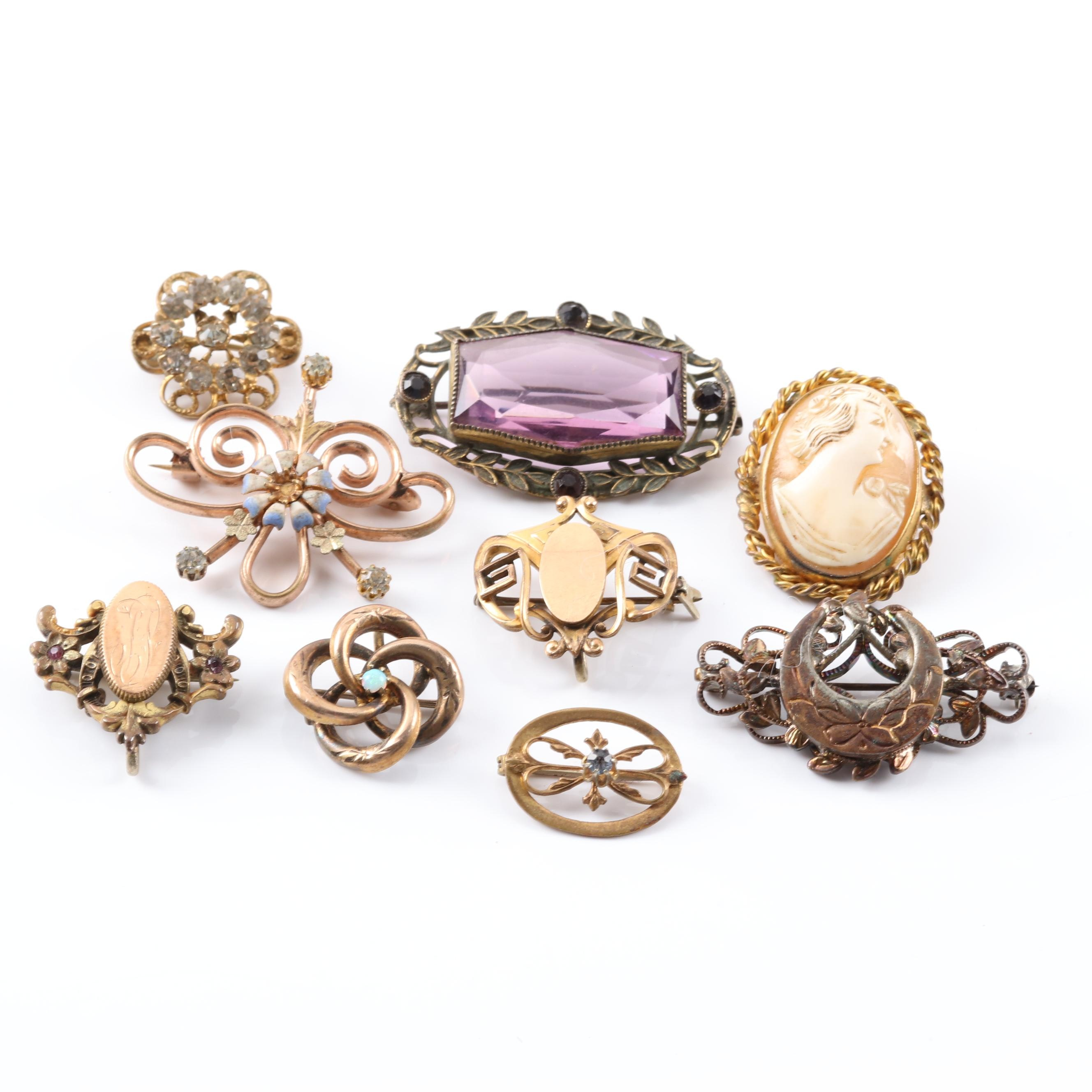 Vintage Silver Plated Brooches