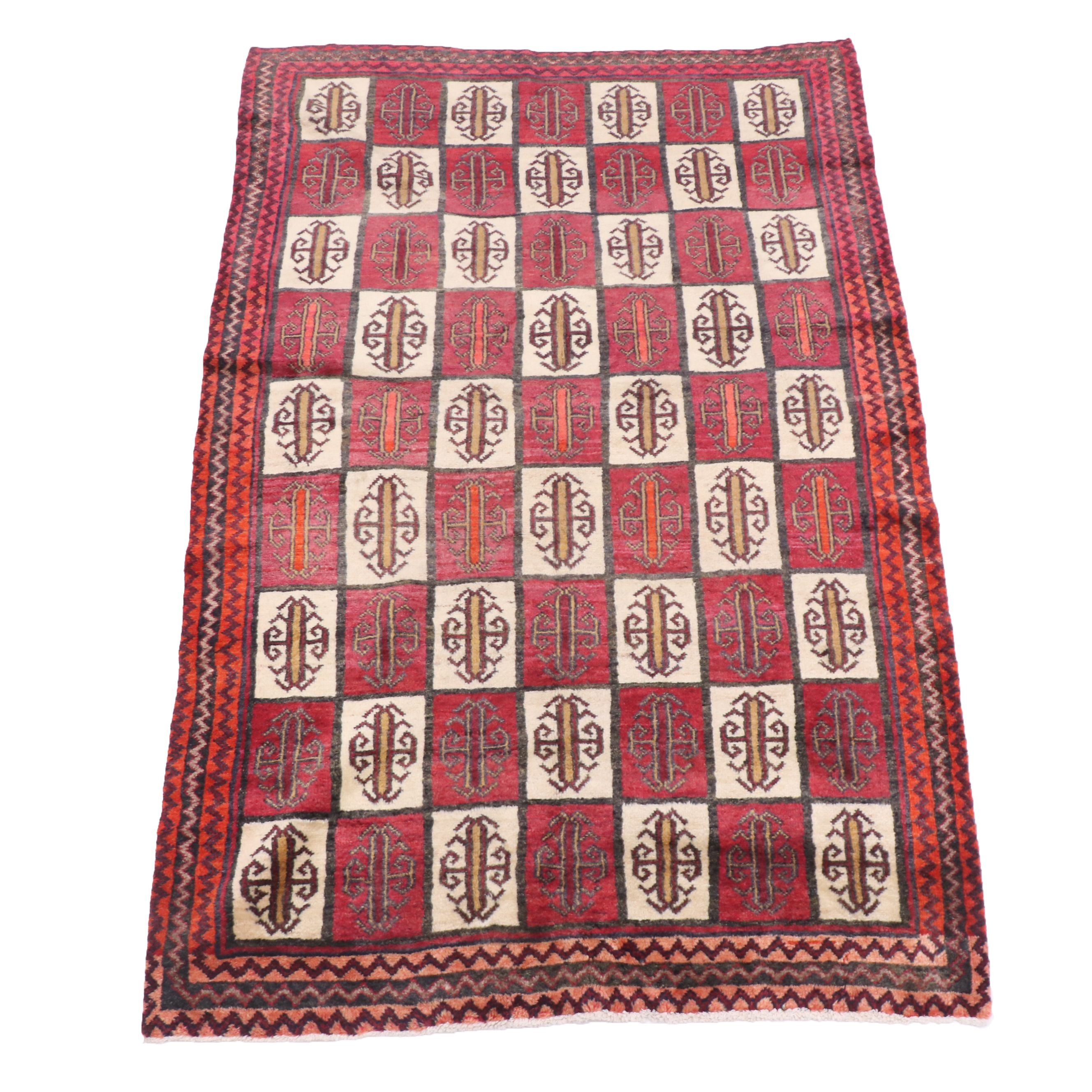 Hand-Knotted Turkish Village Wool Area Rug (Attributed)