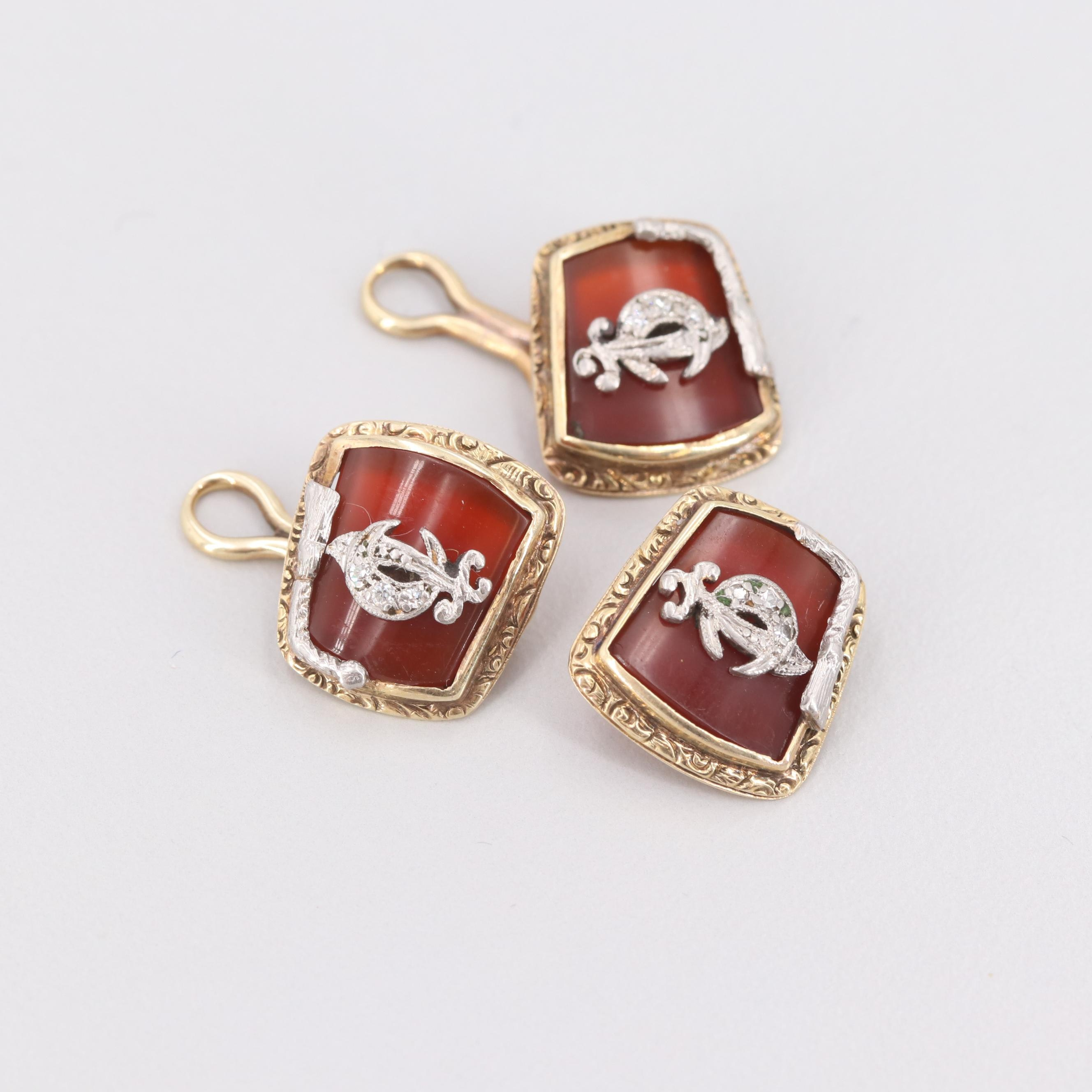 Vintage 14K Yellow Gold and Platinum Carnelian and Diamond Shriner's Cufflinks