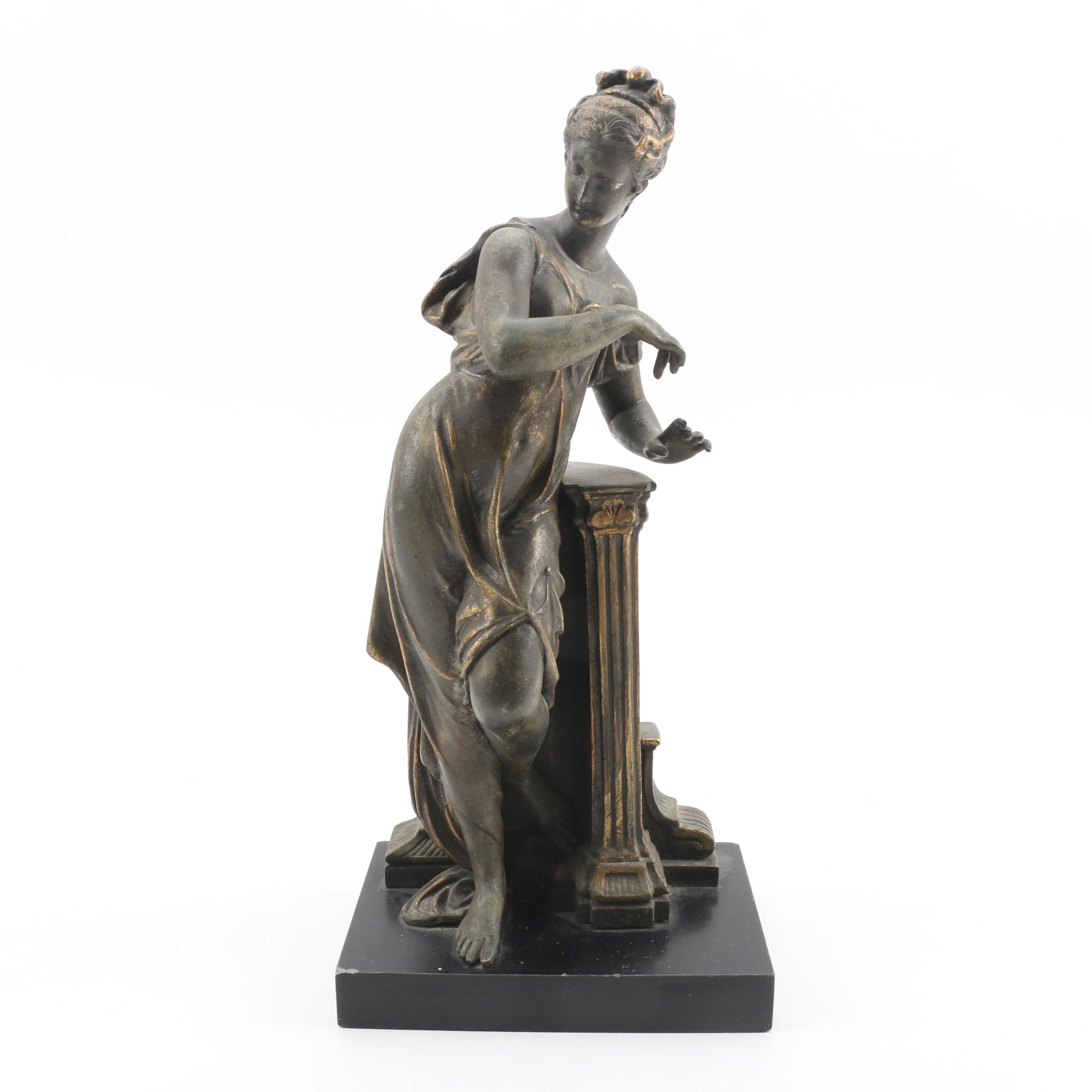 Bronze Tone Greek Muse Sculpture on Black Stone Base