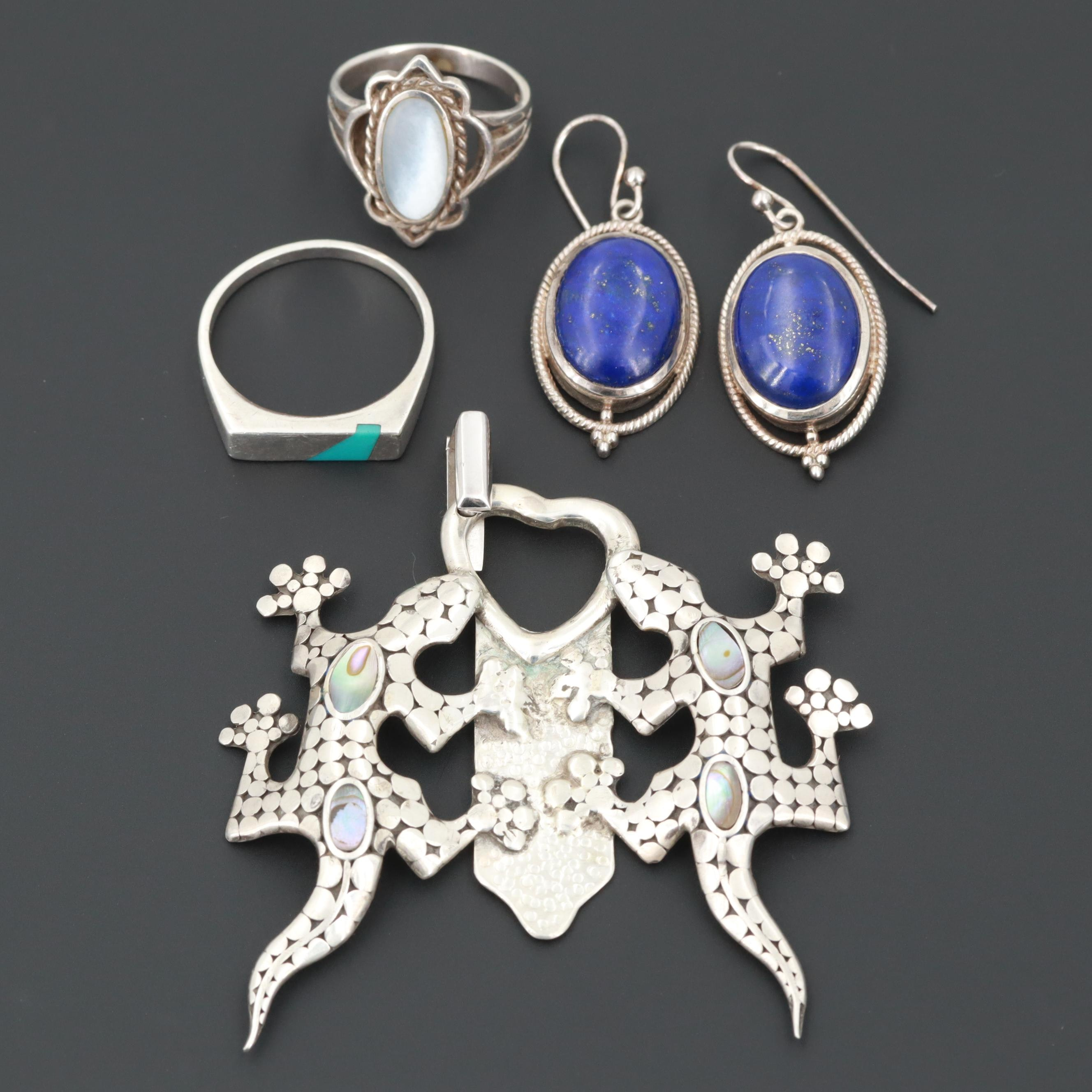 Assorted Sterling Silver Lapis, Shell and Turquoise Earrings, Rings and Pendant