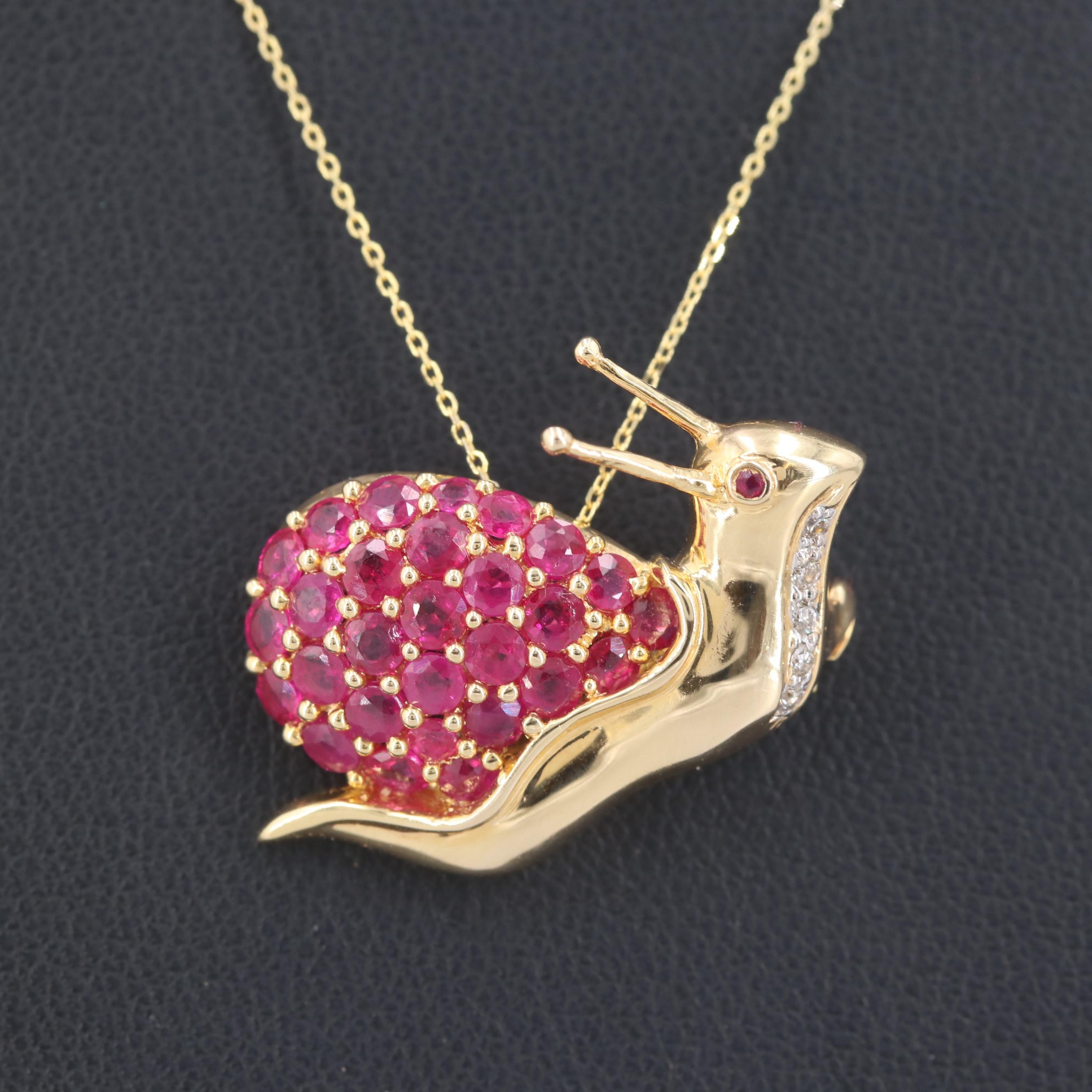 14K Yellow Gold Ruby and Diamond Converter Brooch Necklace
