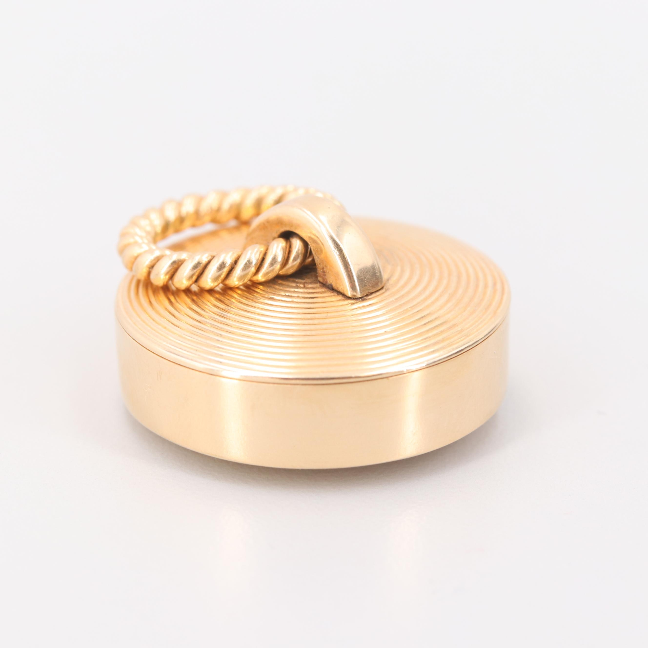 Vintage Cartier 14K Yellow Gold Round Pill Box