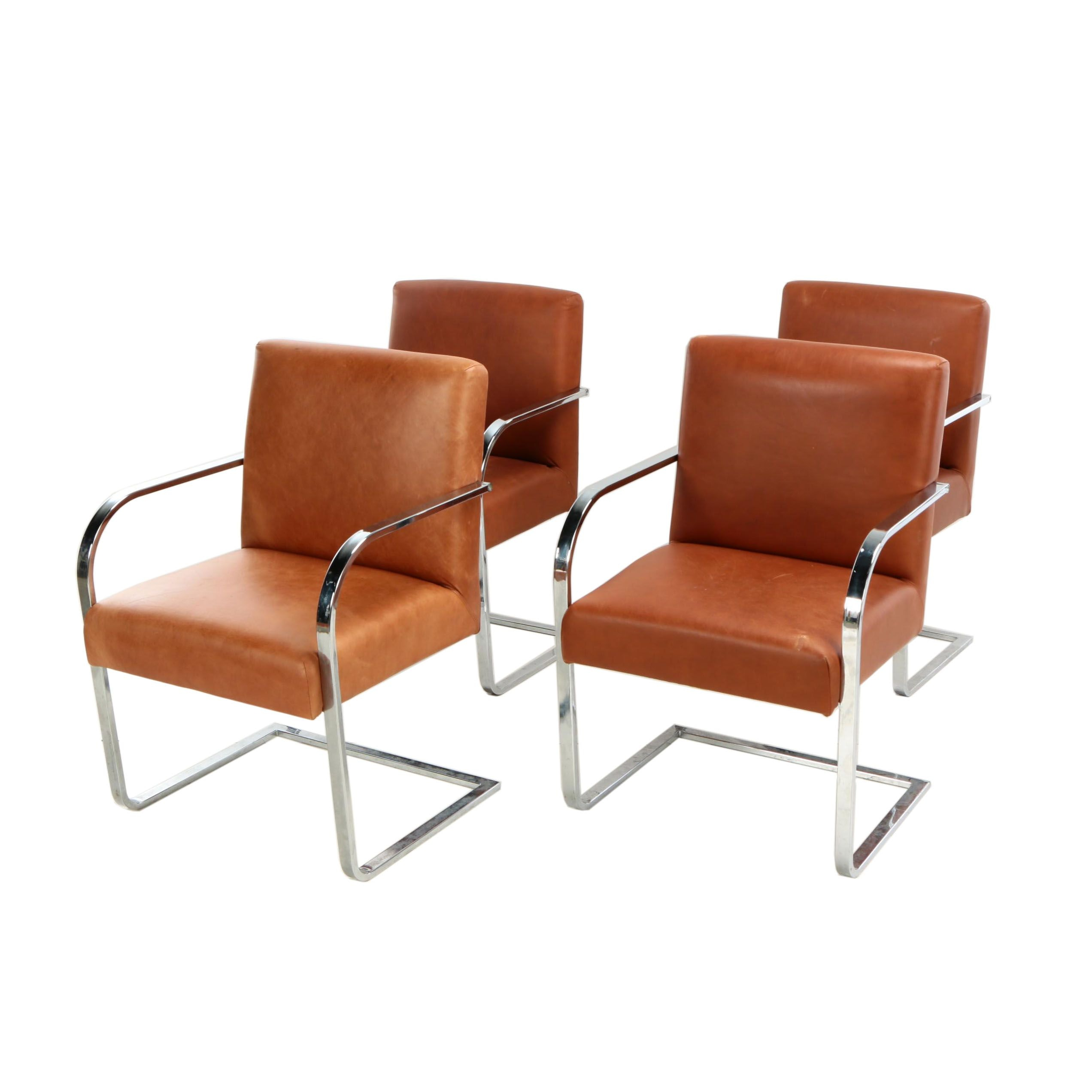 Set of Williams-Sonoma Leather Cantilever Armchairs