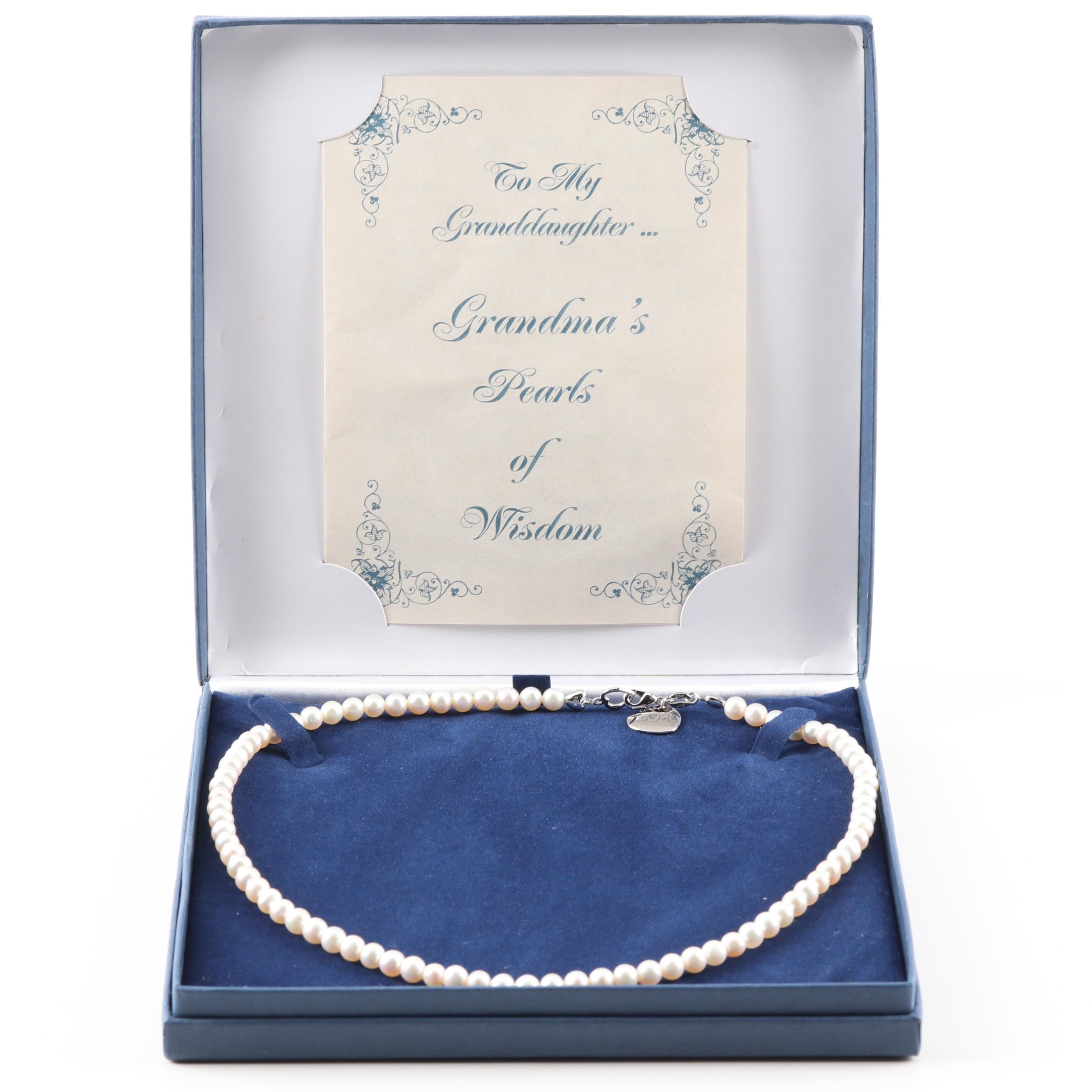 Bradford Gold Exchange Sterling Silver Freshwater Cultured Pearl Strand