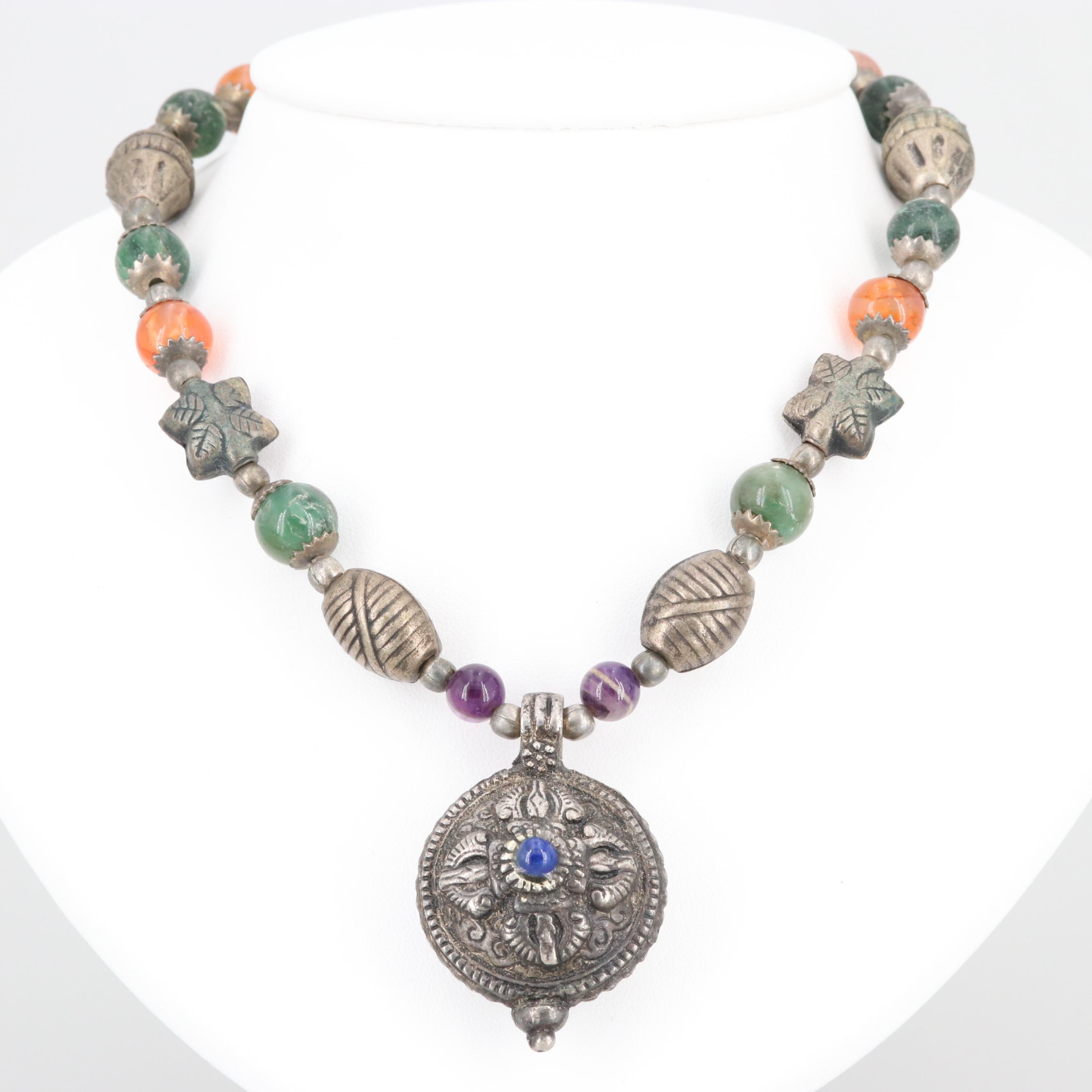Silver Tone Agate, Aventurine and Amethyst Necklace