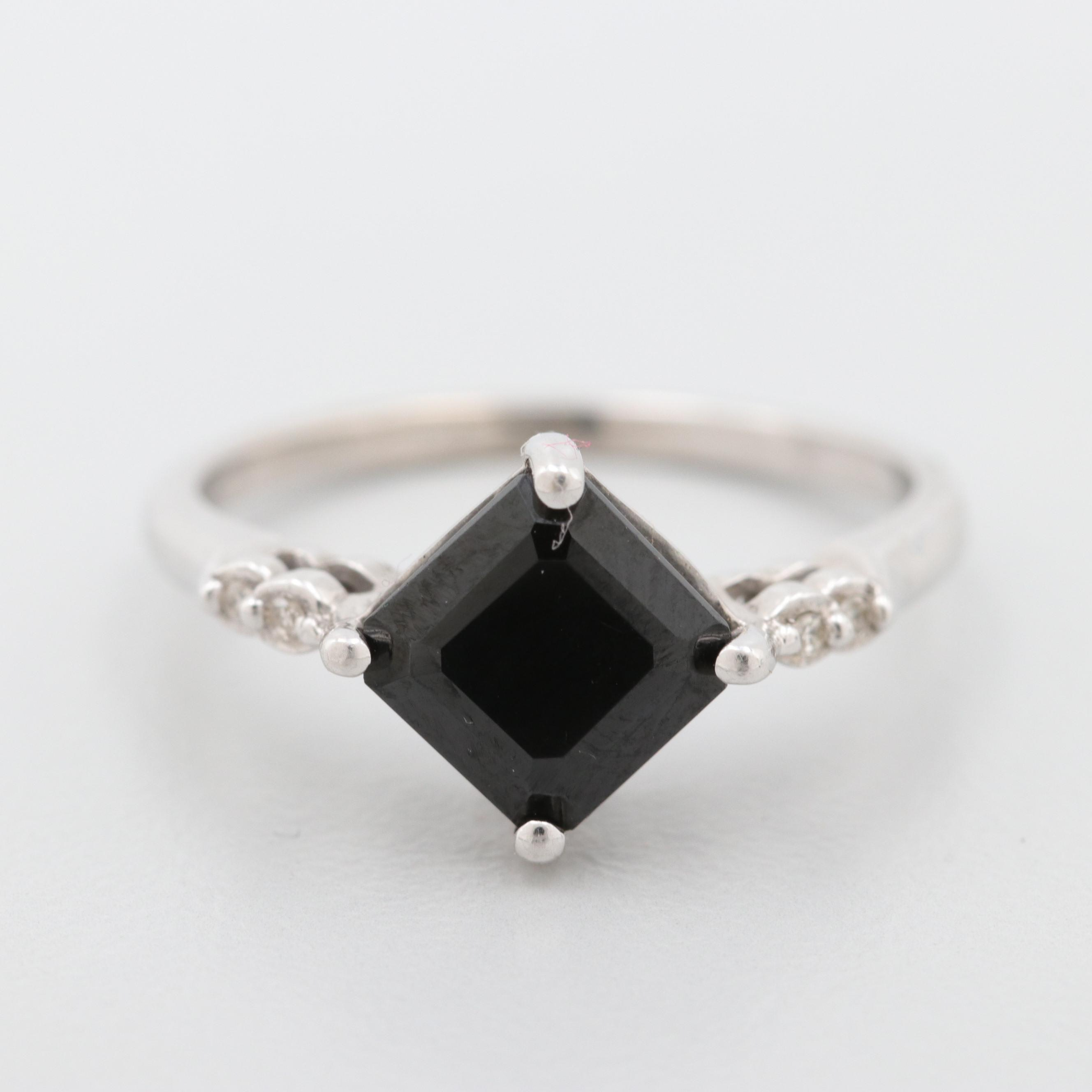 10K White Gold Black Onyx and Diamond Ring