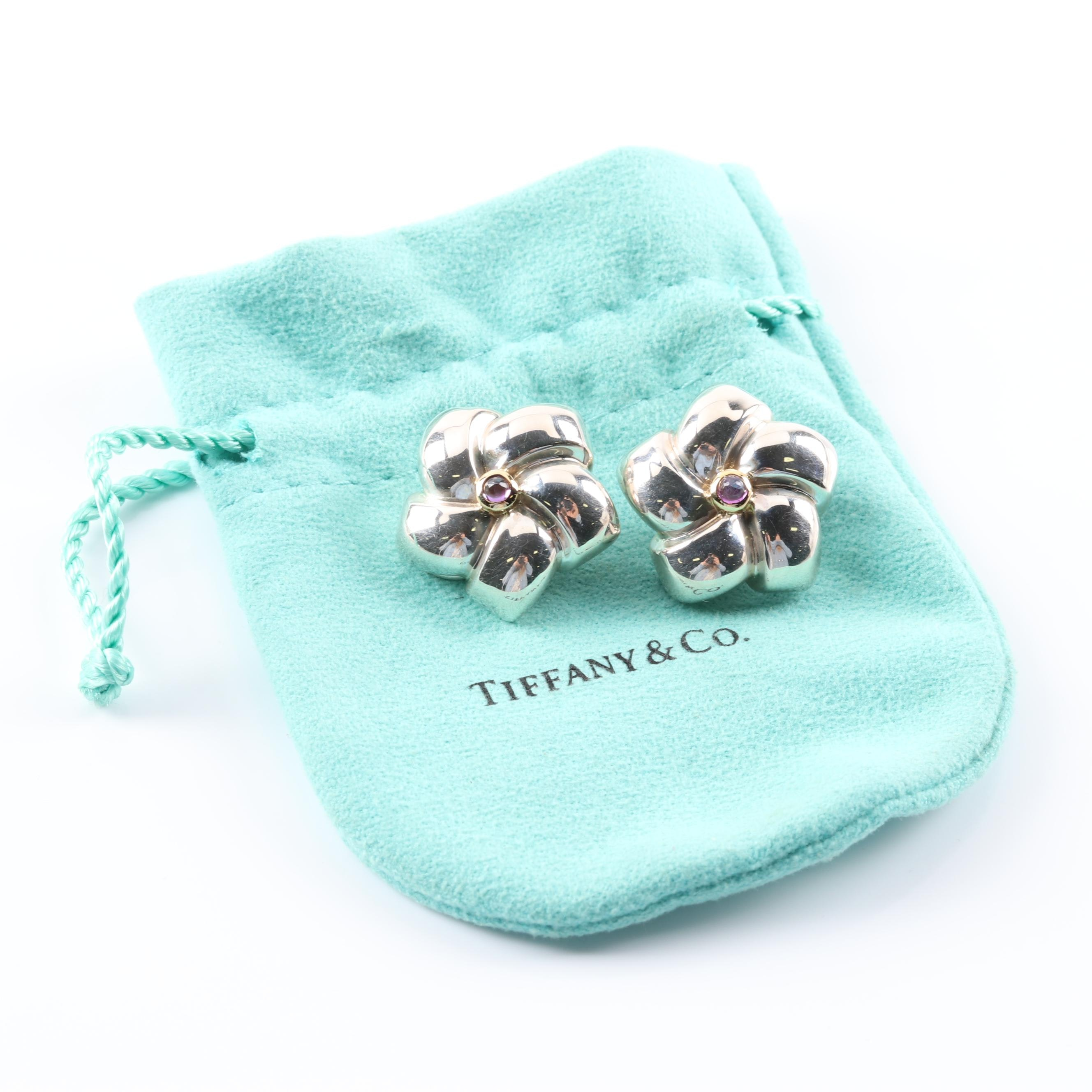 Tiffany & Co. Sterling Silver and 18K Yellow Gold Amethyst Clip-On Earrings