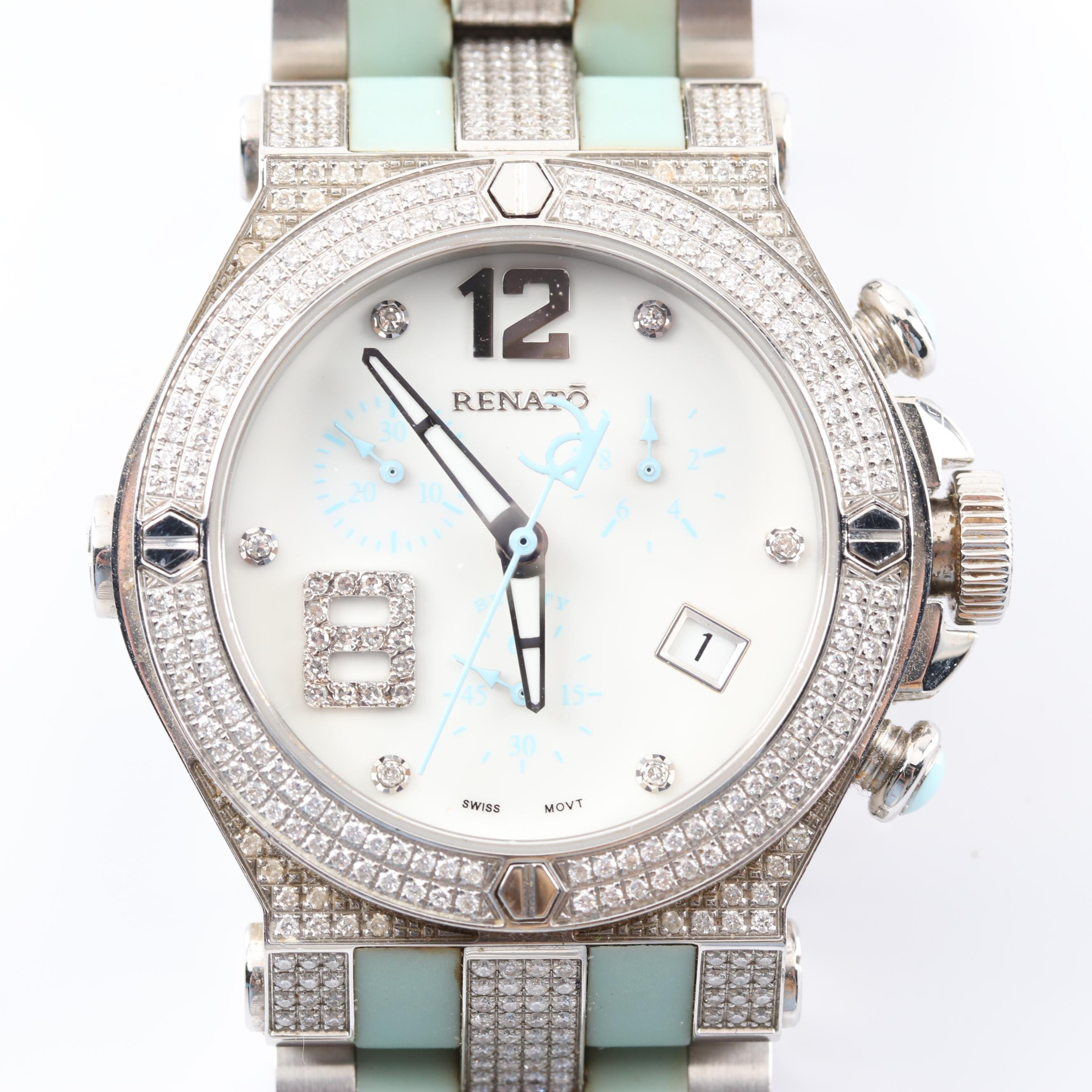 Renato Stainless Steel 1.17 CTW Diamond Wristwatch