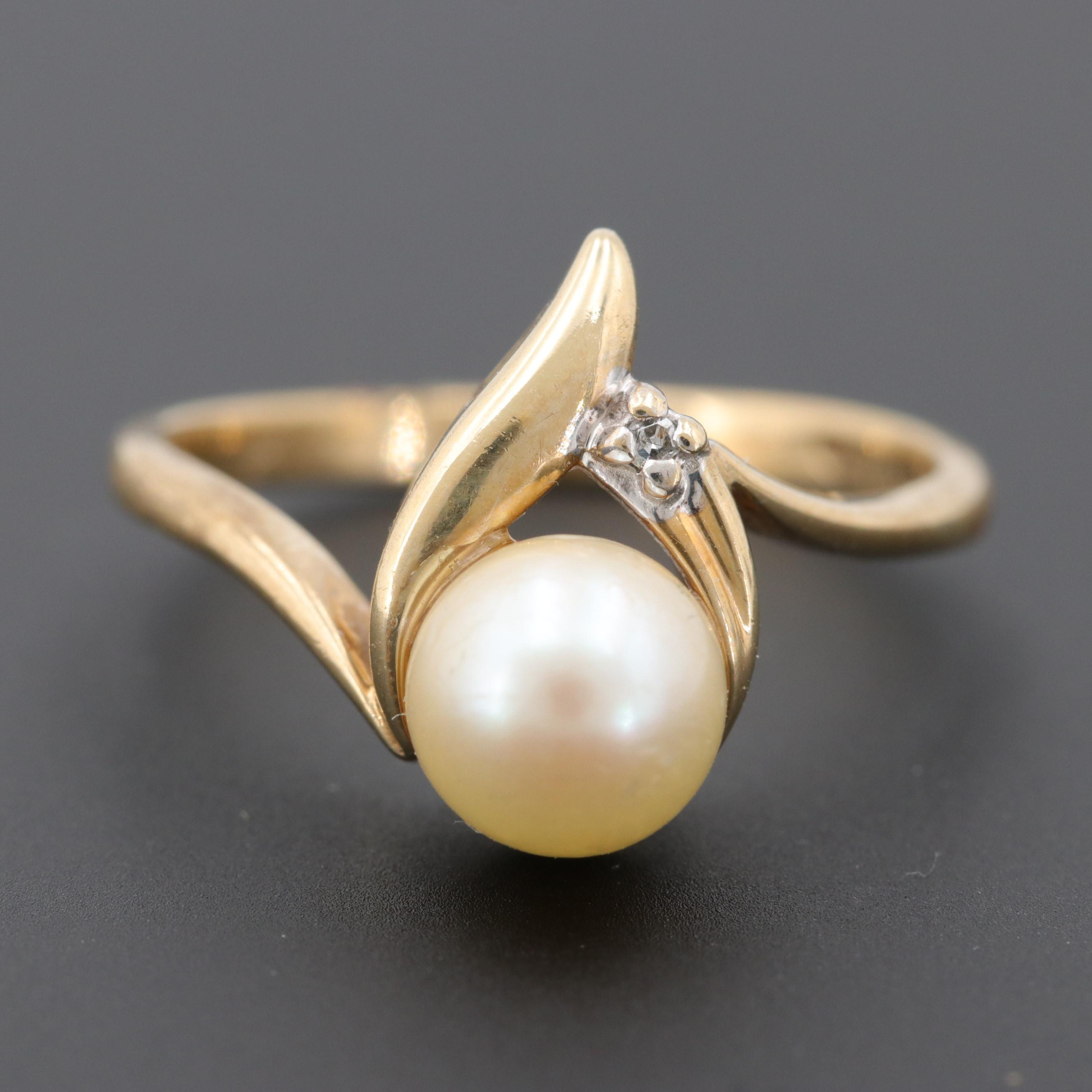 Alwand Vahan 10K Yellow Gold Cultured Pearl Ring with Diamond Accent