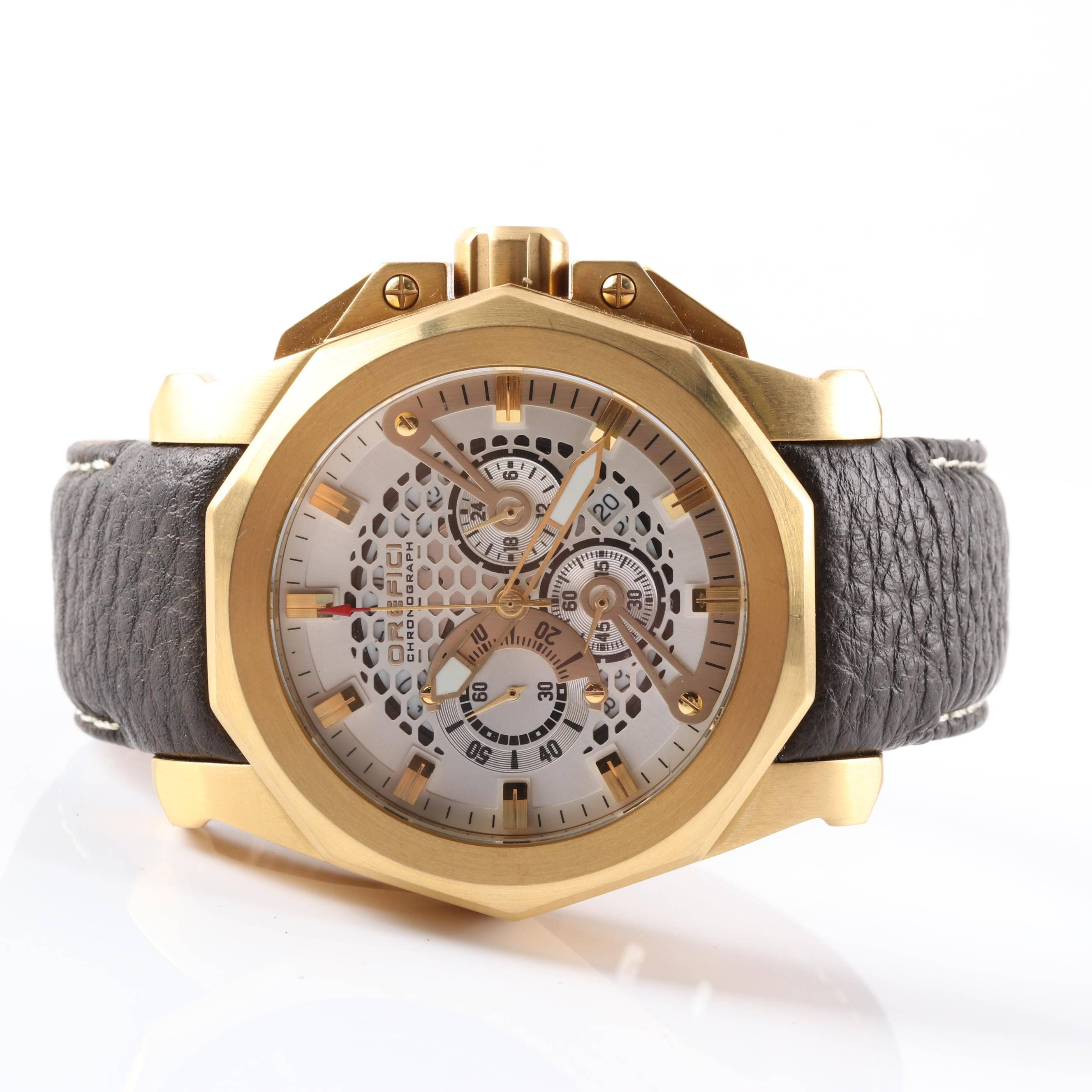 Orefici Gold Plated Stainless Steel Chronograph Wristwatch