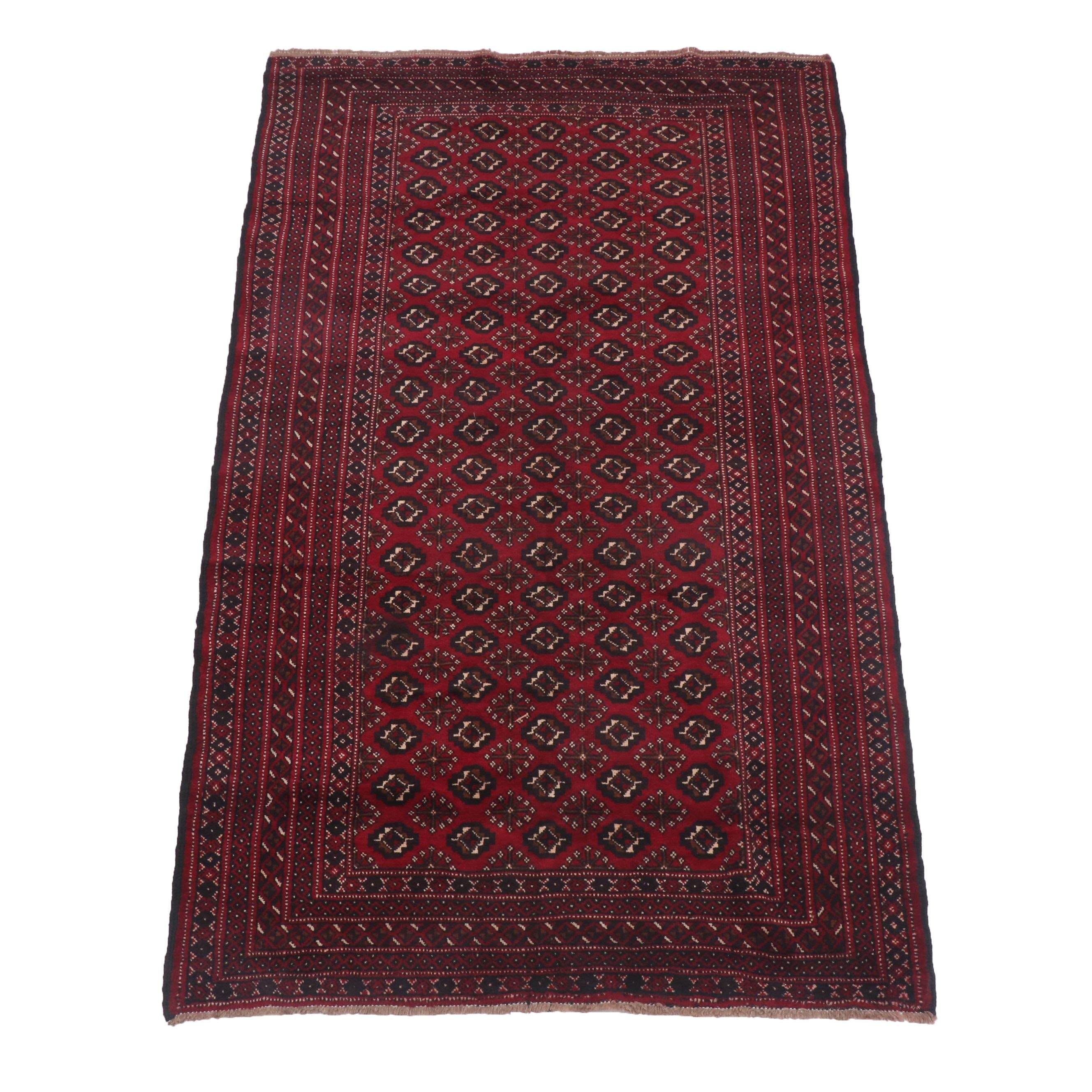 Hand-Knotted Persian Bokhara Wool Area Rug