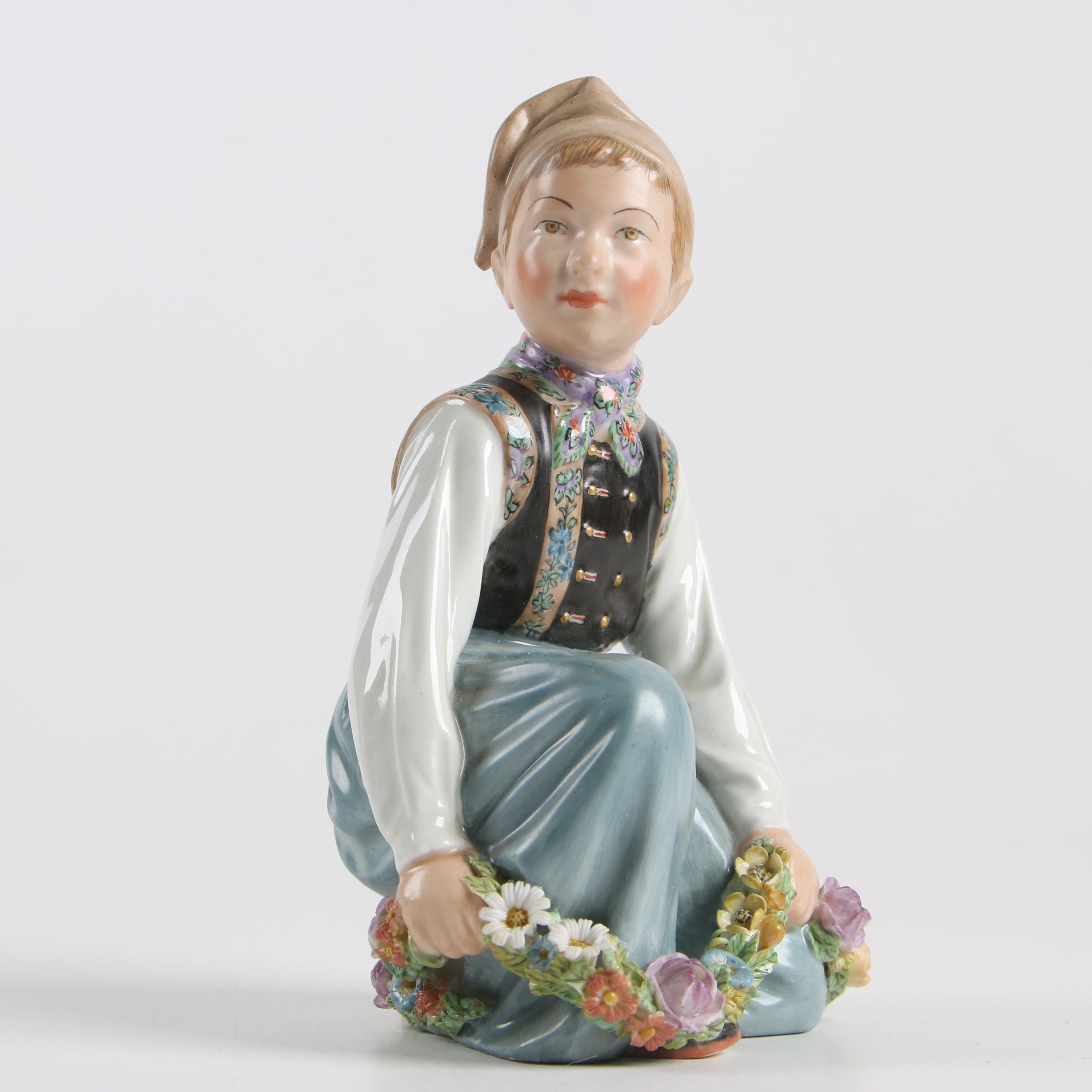"Royal Copenhagen ""Amager Boy"" Porcelain Overglaze Figurine, Circa 1905"