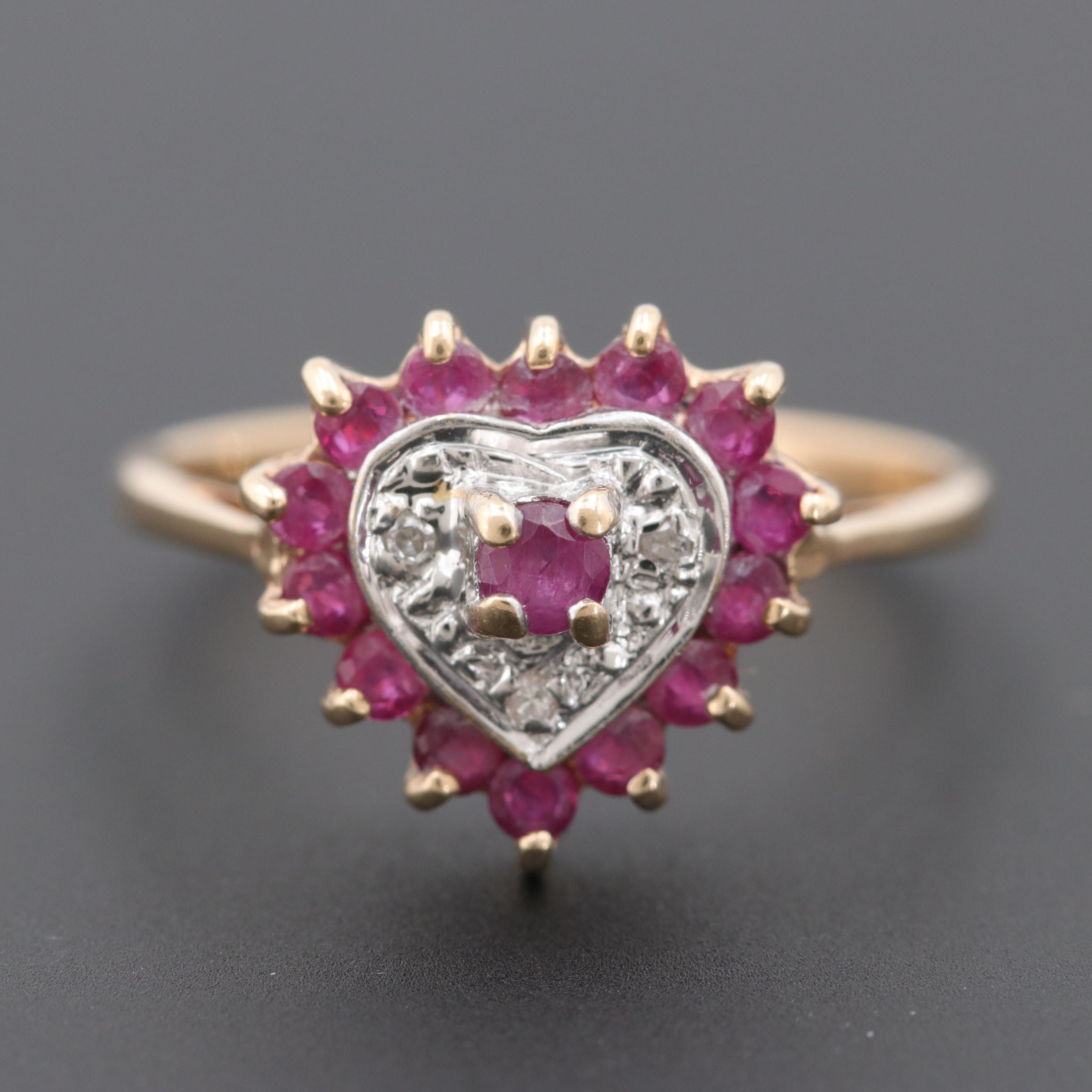 10K Yellow Gold Ruby and Diamond Heart Ring