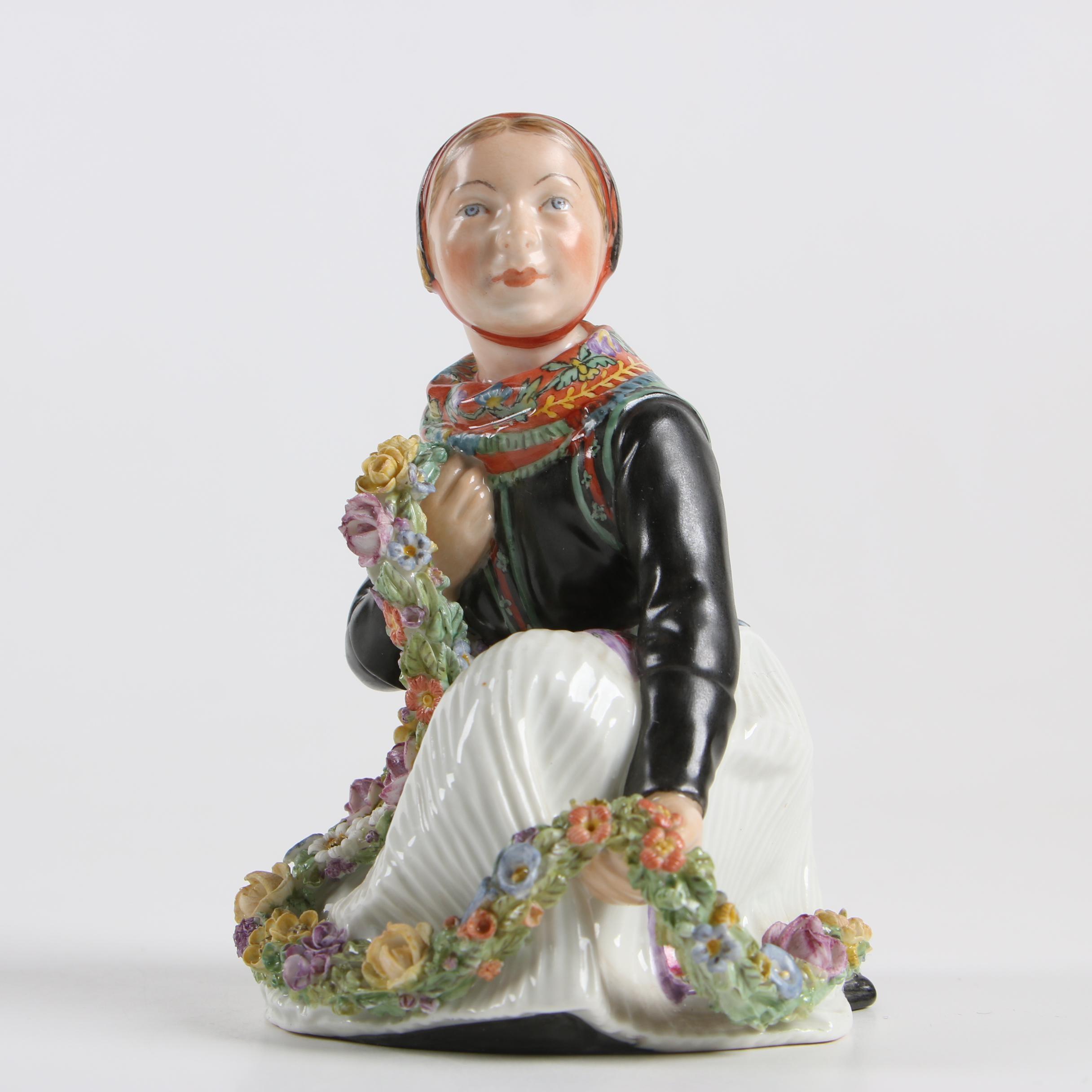 "Royal Copenhagen ""Amager Girl"" Porcelain Overglaze Figurine, Circa 1905"