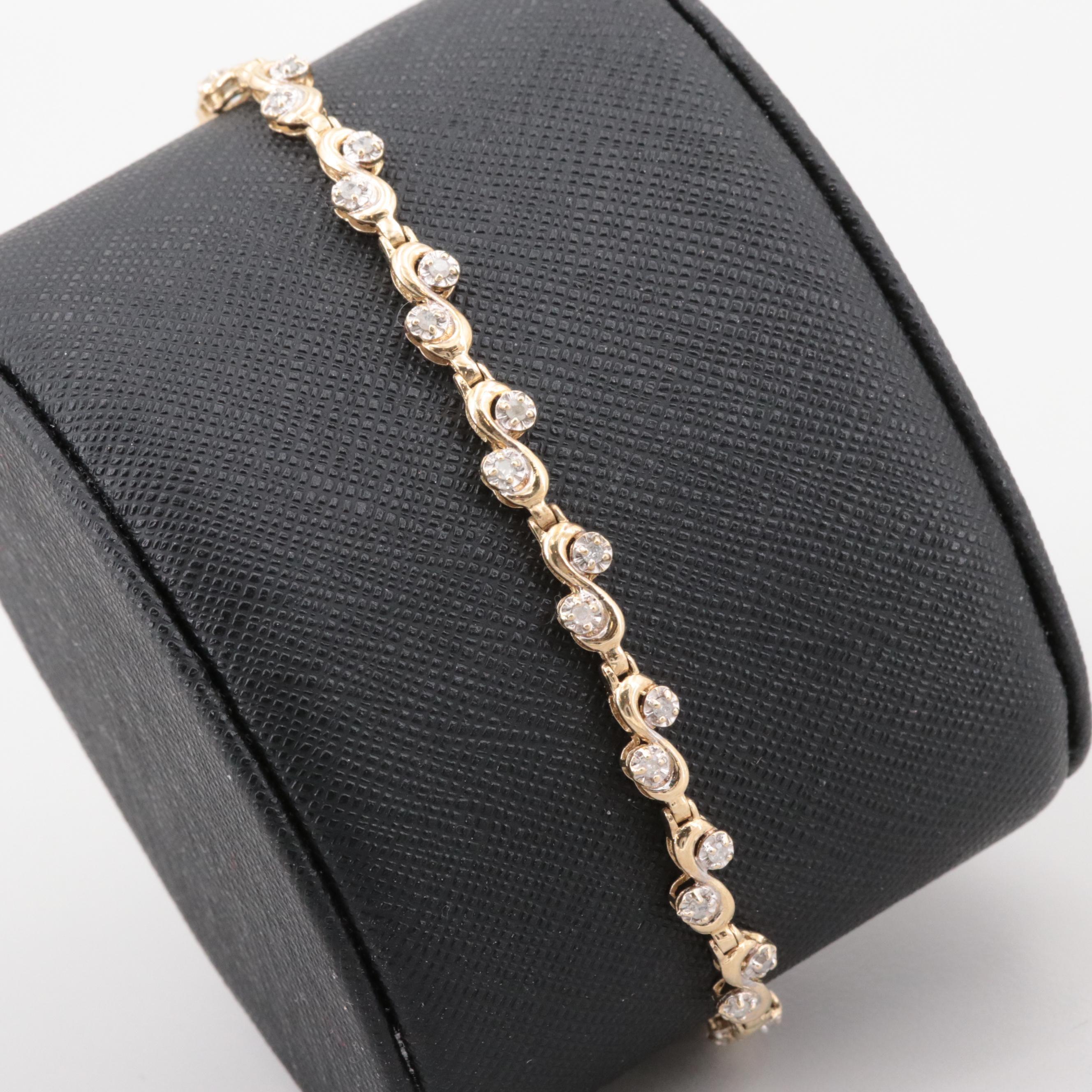 10K Yellow Gold Diamond Tennis Bracelet