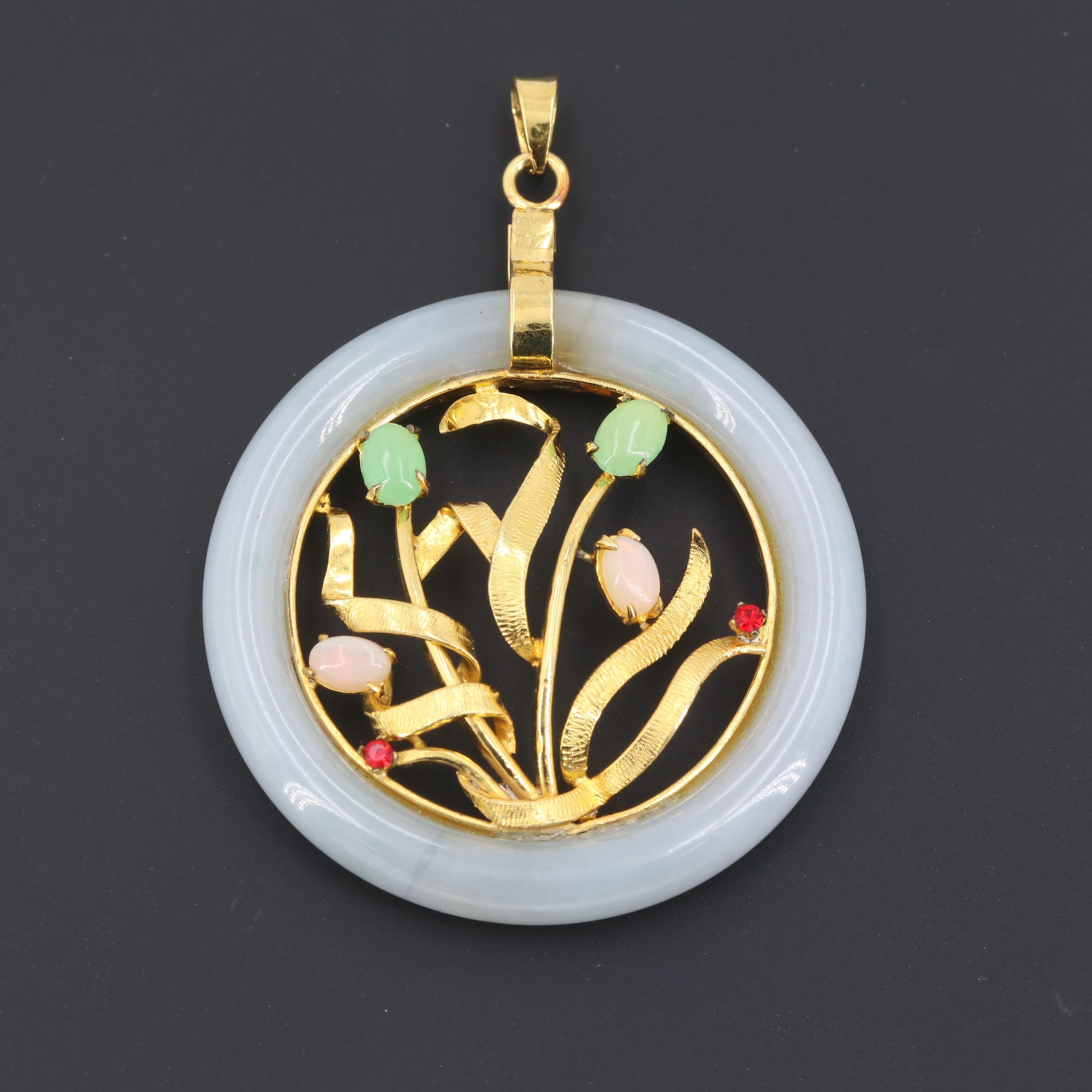 Gold Tone Jadeite, Chalcedony and Glass Pendant