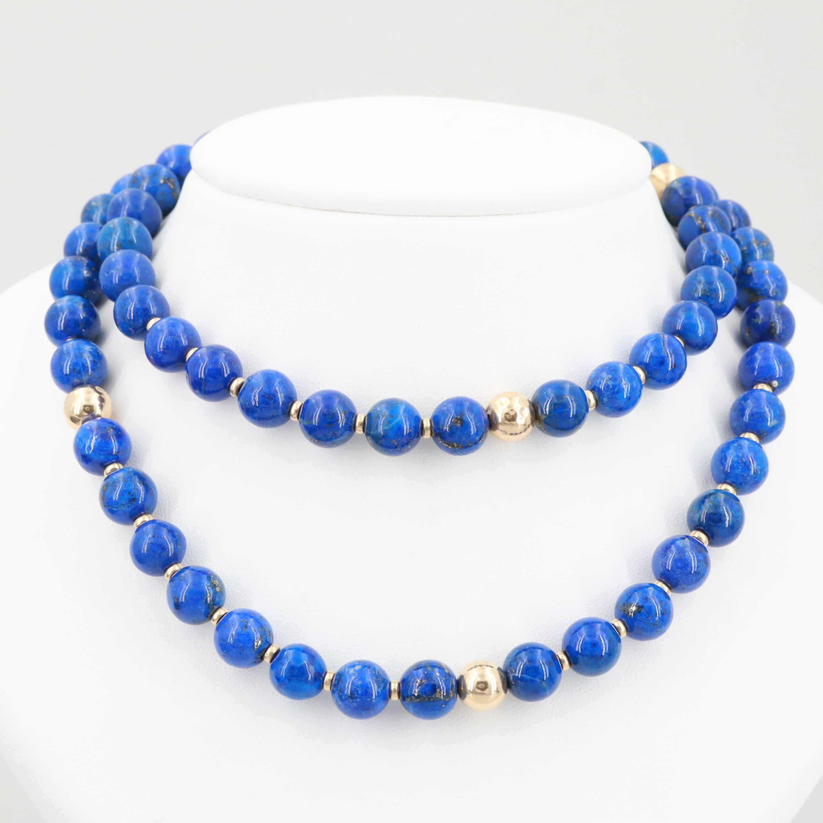14K Yellow Gold Lapis Lazuli Beaded Necklace