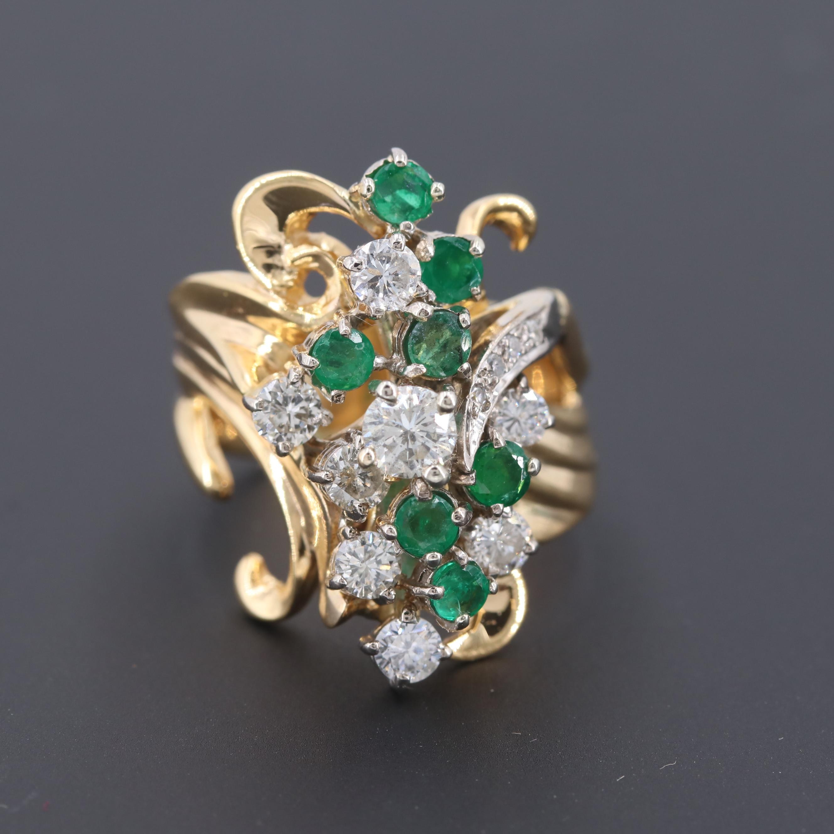 14K Yellow Gold 1.07 CTW Diamond and Emerald Ring