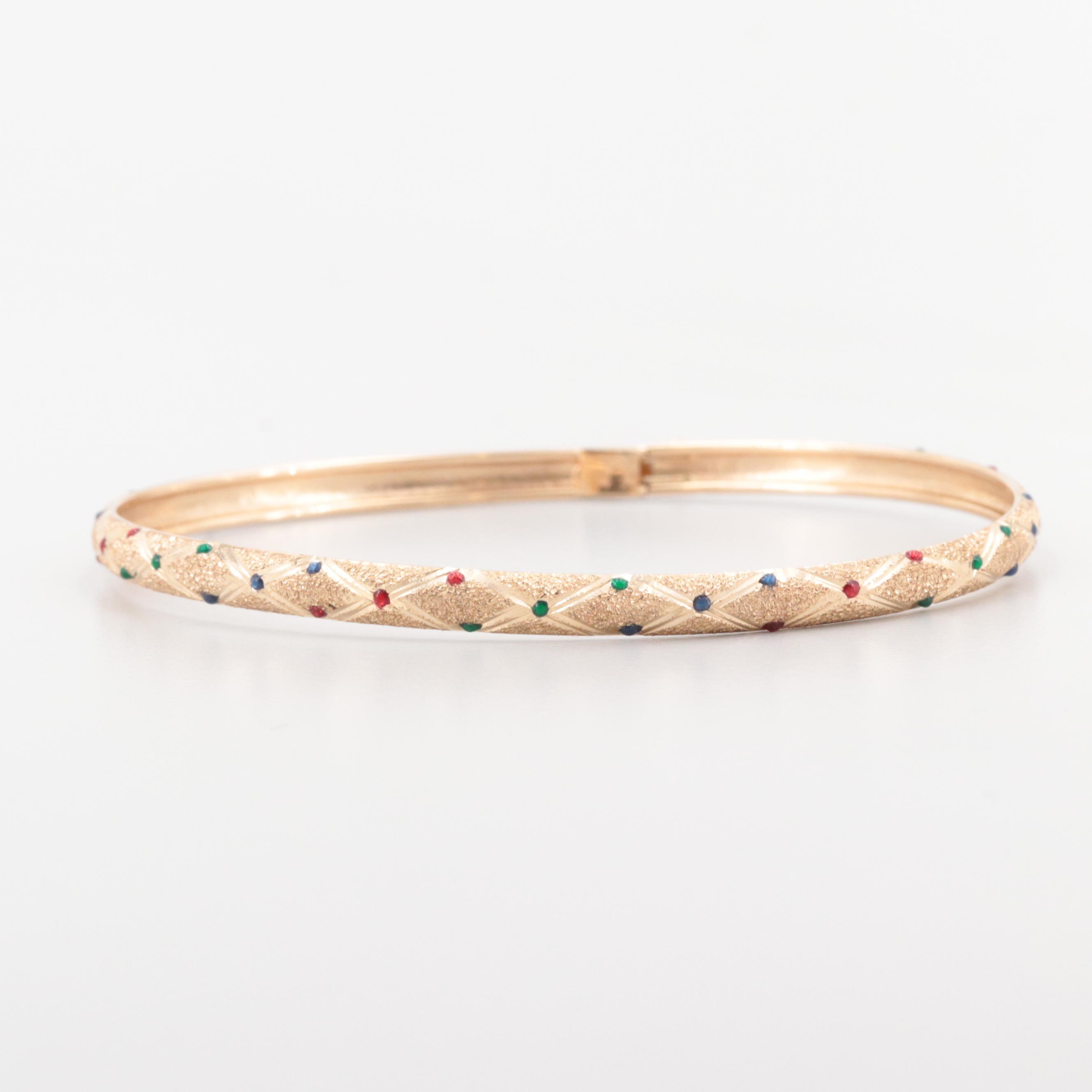 10K Yellow Gold Vitreous Enamel Engraved Bangle Bracelet