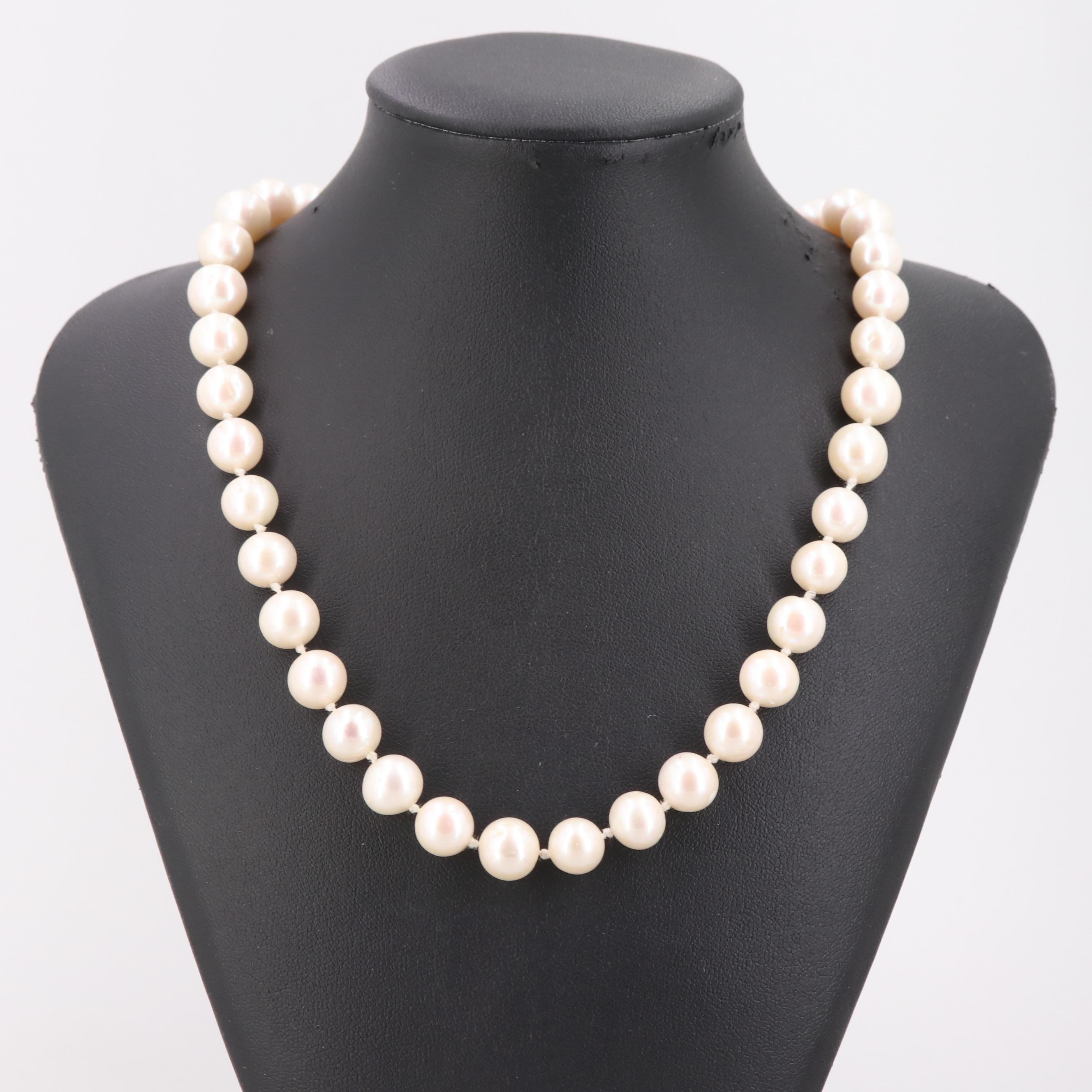14K Yellow Gold Cultured Pearl Individually Knotted Necklace