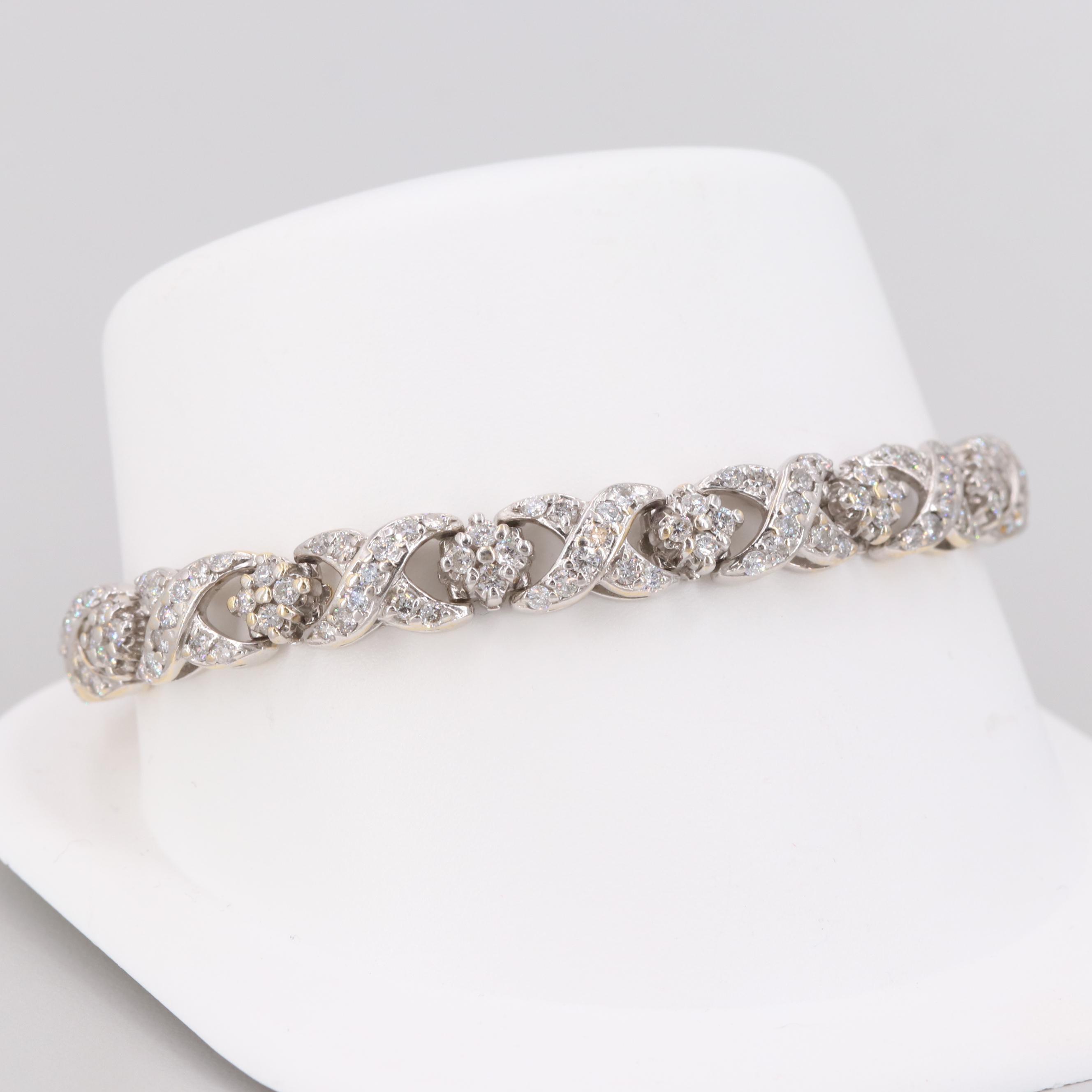 18K White Gold 5.02 CTW Diamond Bracelet