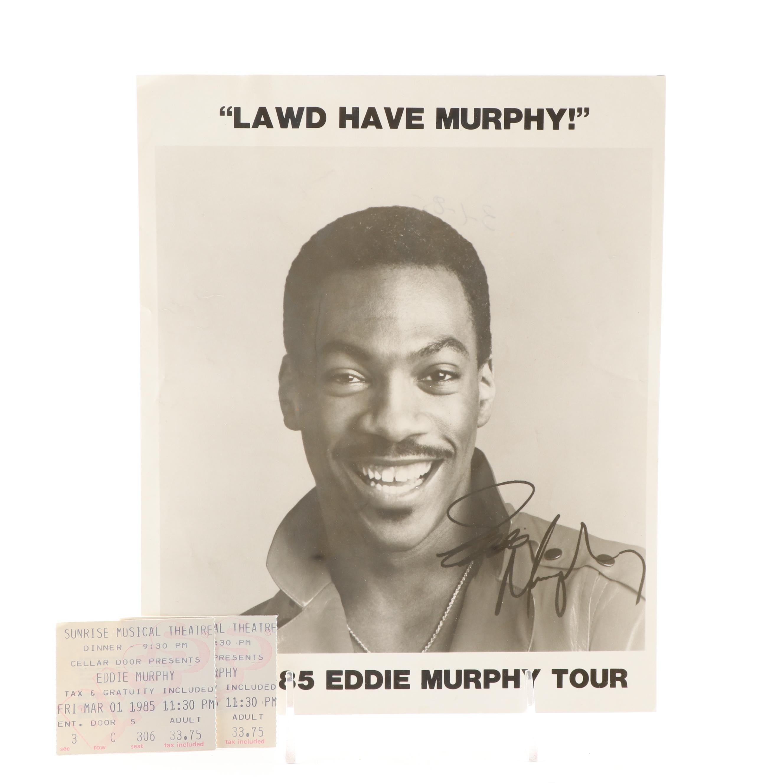 Signed 1985 Eddie Murphy Tour Headshot and Ticket Stubs