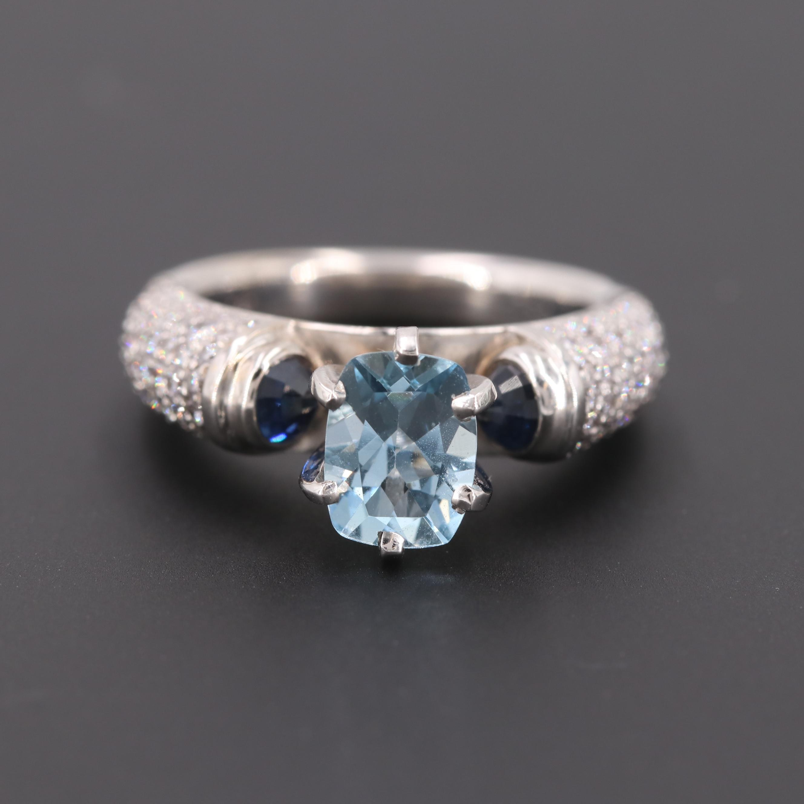 18K White Gold Aquamarine, Sapphire and 1.15 CTW Diamond Ring