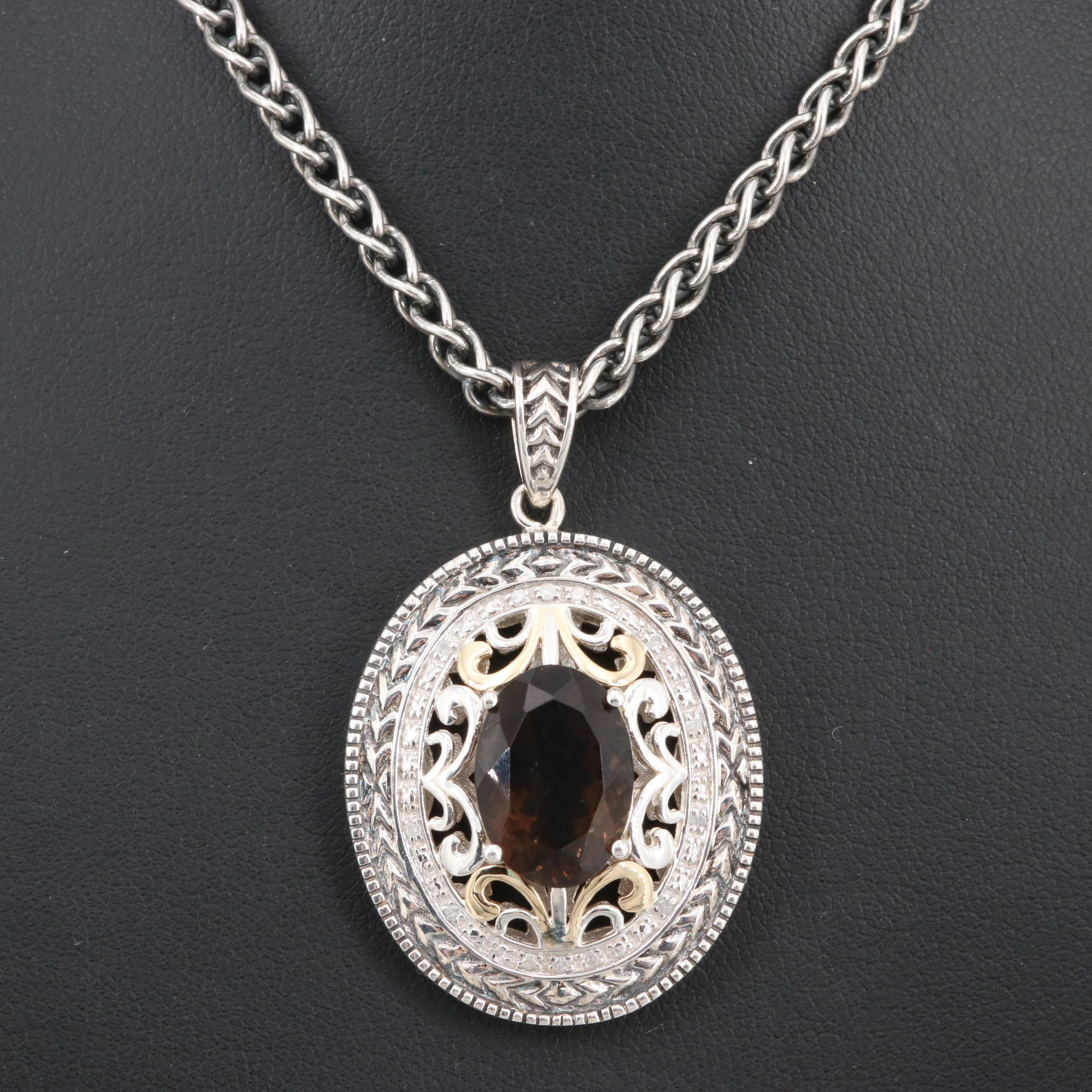 Sterling Silver Smoky Quartz and Diamond Pendant Necklace