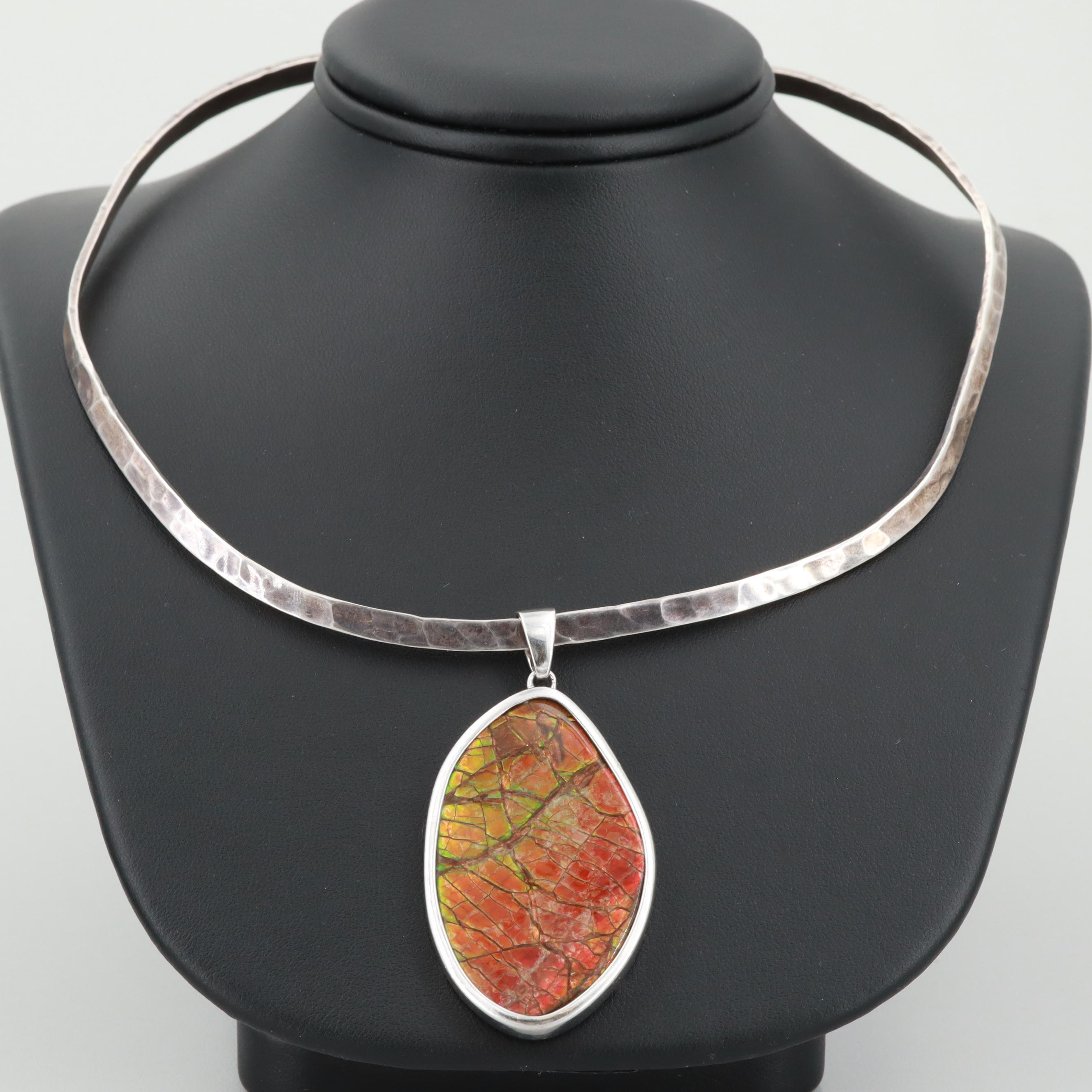 Sterling Silver Ammolite Necklace