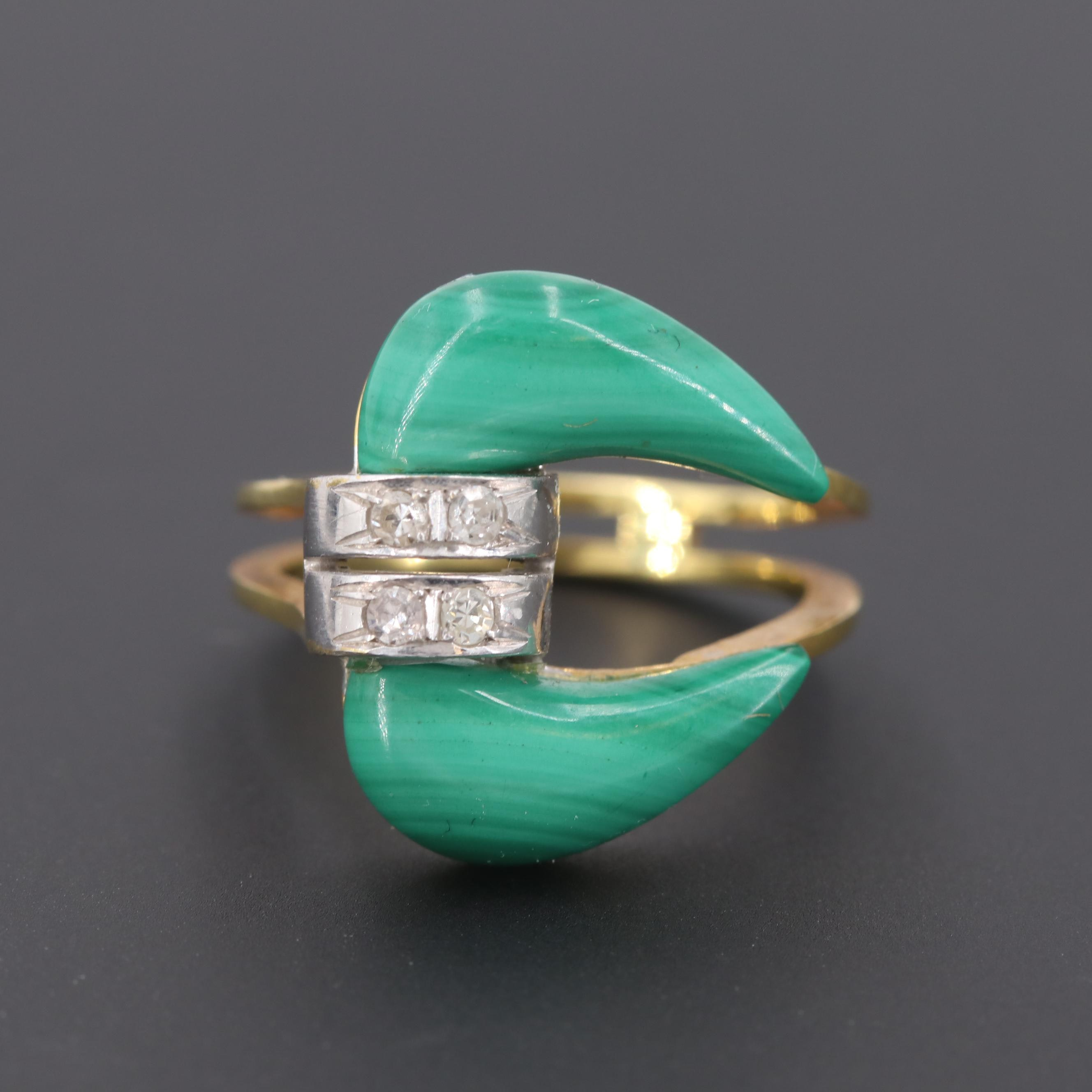 14K Yellow Gold Malachite and Diamond Ring
