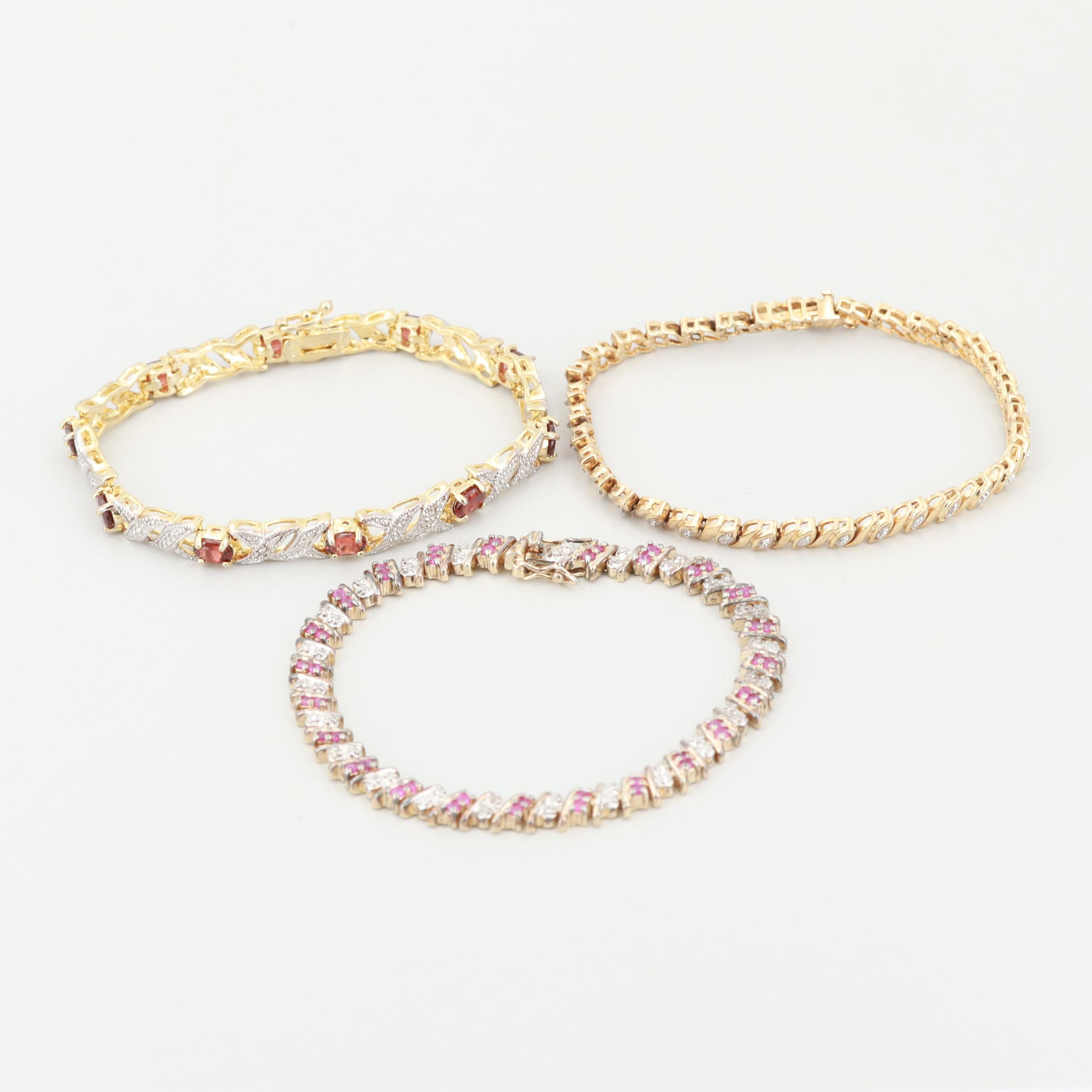 Sterling Silver Gold Wash Diamond, Ruby and Garnet Bracelets