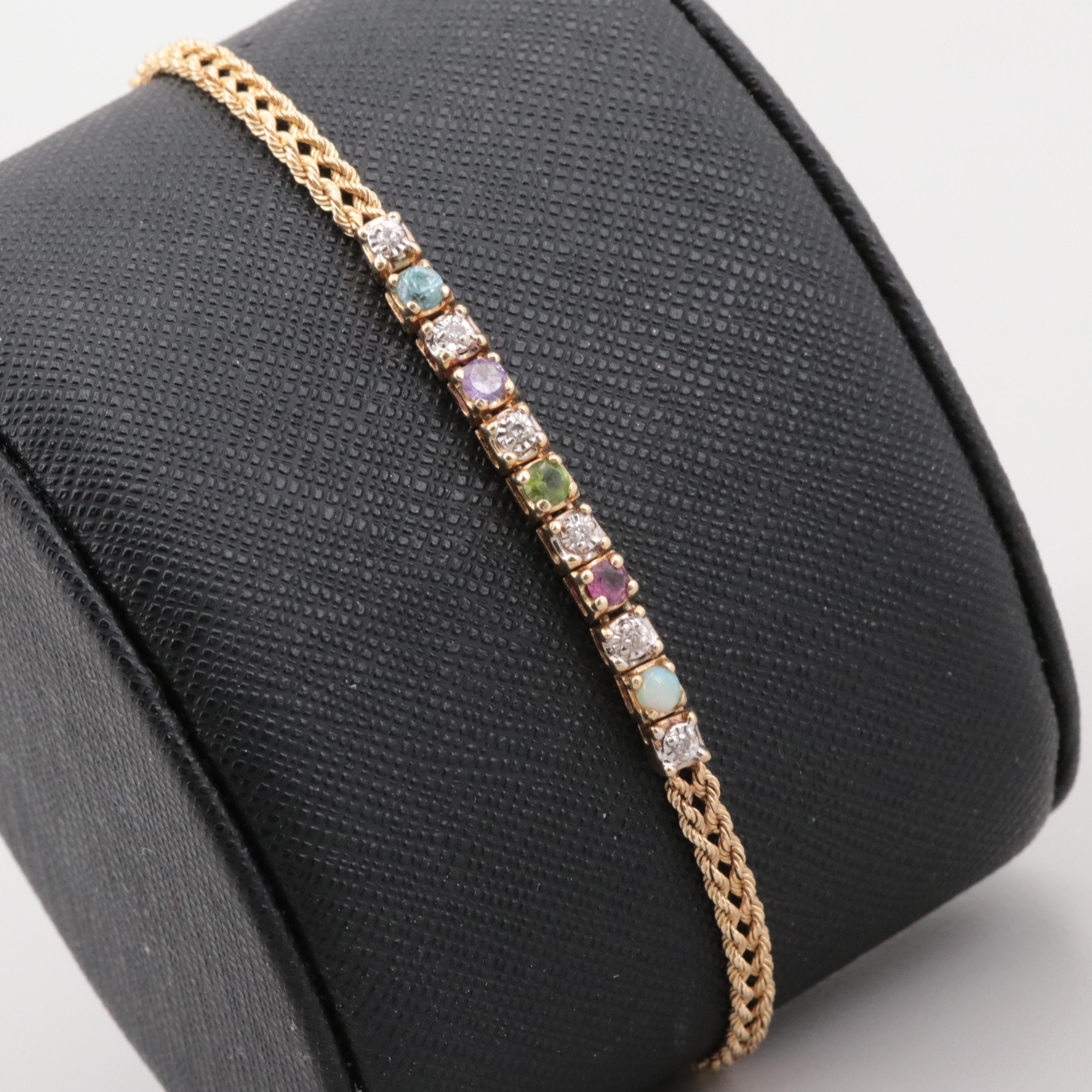 10K Yellow Gold Diamond and Multi-Gemstone Line Bracelet