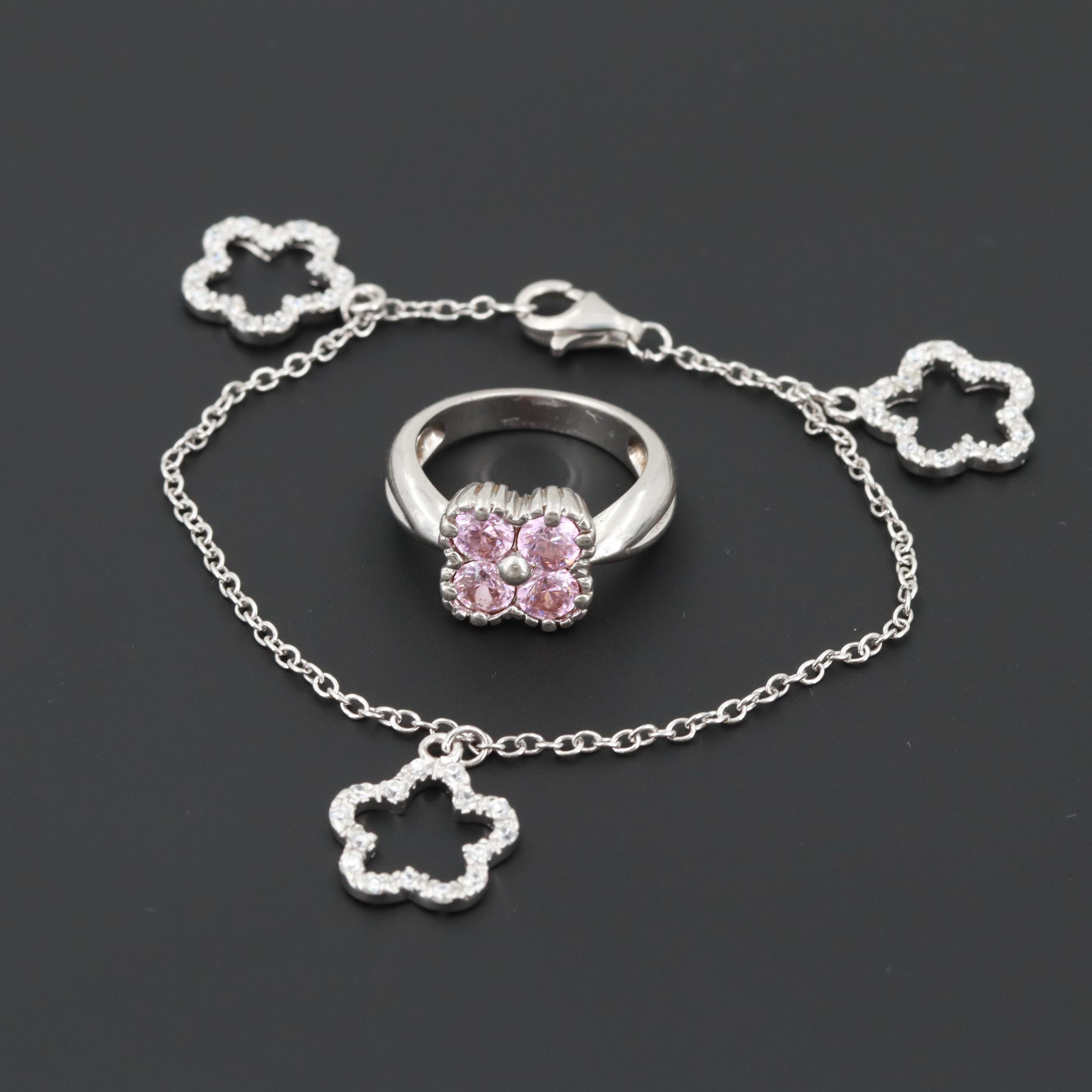 Sterling Silver Cubic Zirconia Bracelet and Ring