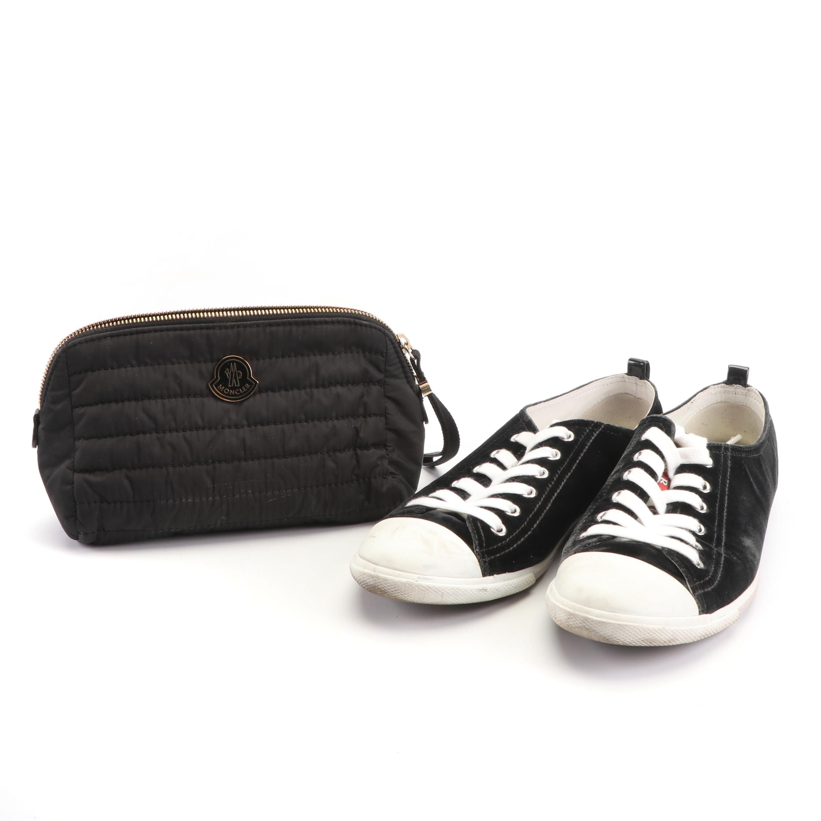 Women's Prada Velvet Grafite Sneakers with Moncler Modello Quilted Cosmetic Bag