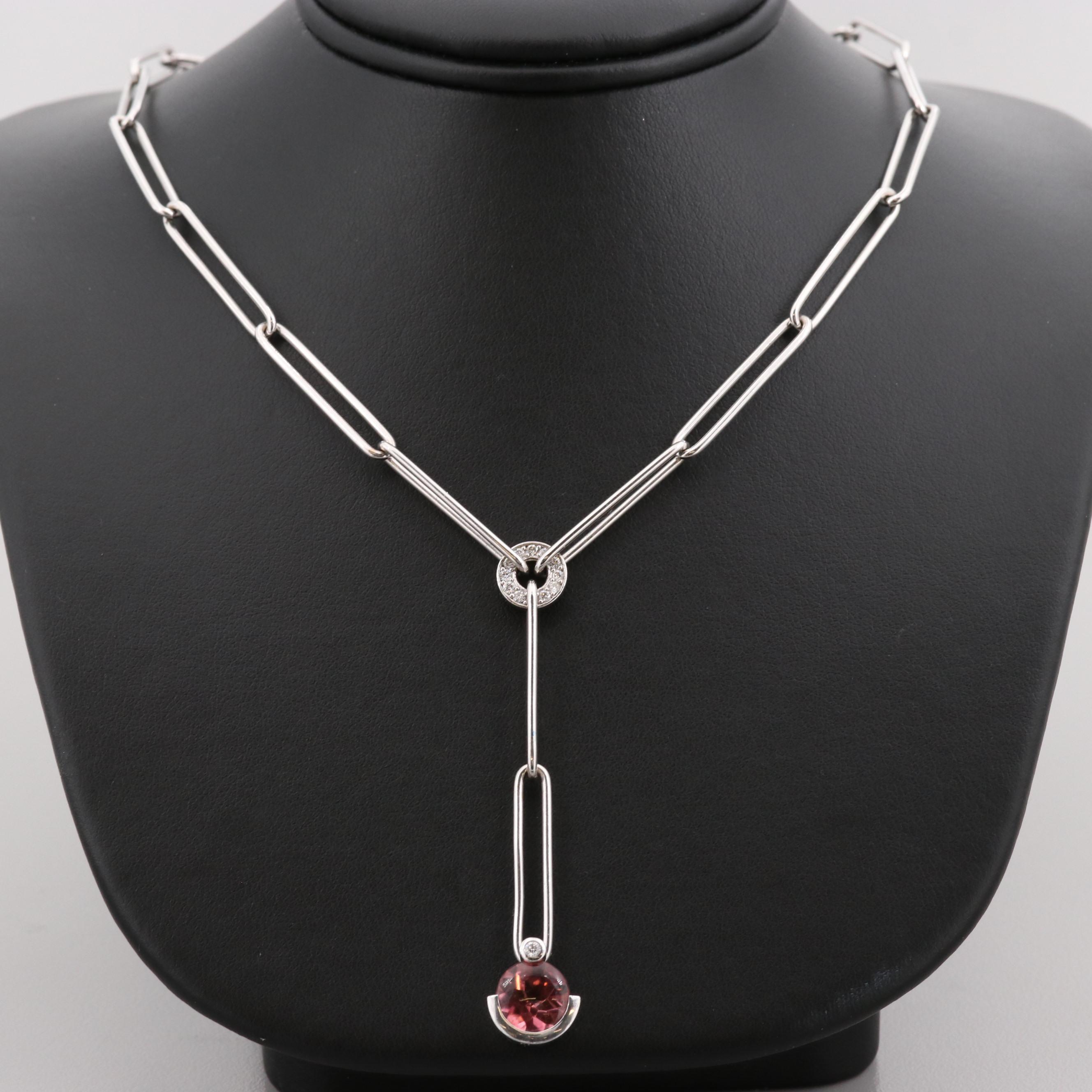 18K White Gold Pink Tourmaline and Diamond Necklace