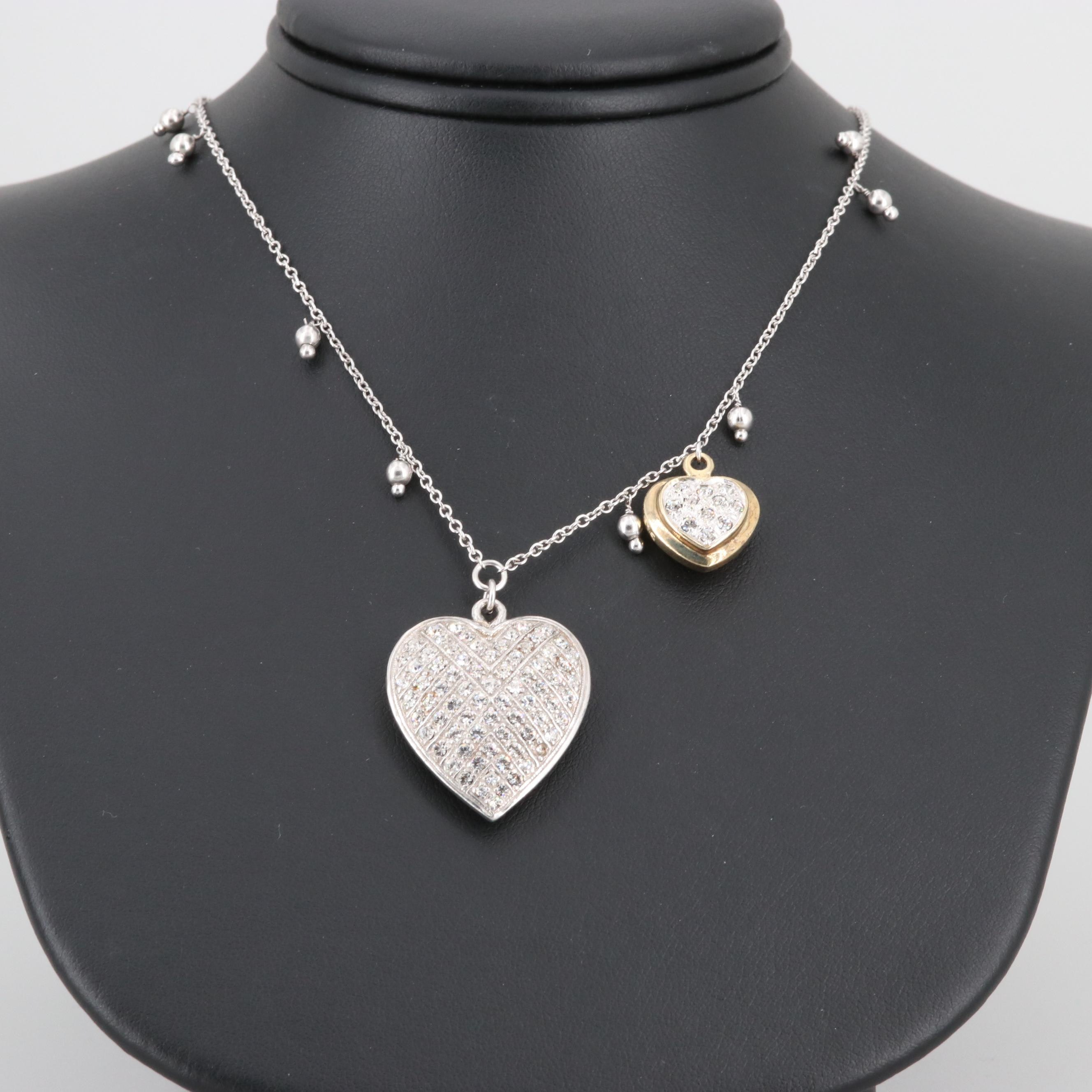 Gold Wash on Sterling Silver Foilbacked Glass Heart Pendant Necklace